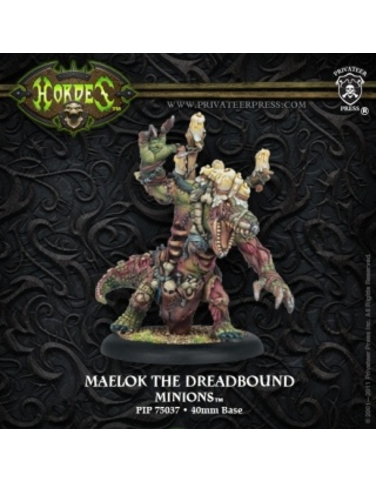Hordes: Minions Maelok the Dreadbound Gatorman Warlock (White Metal)