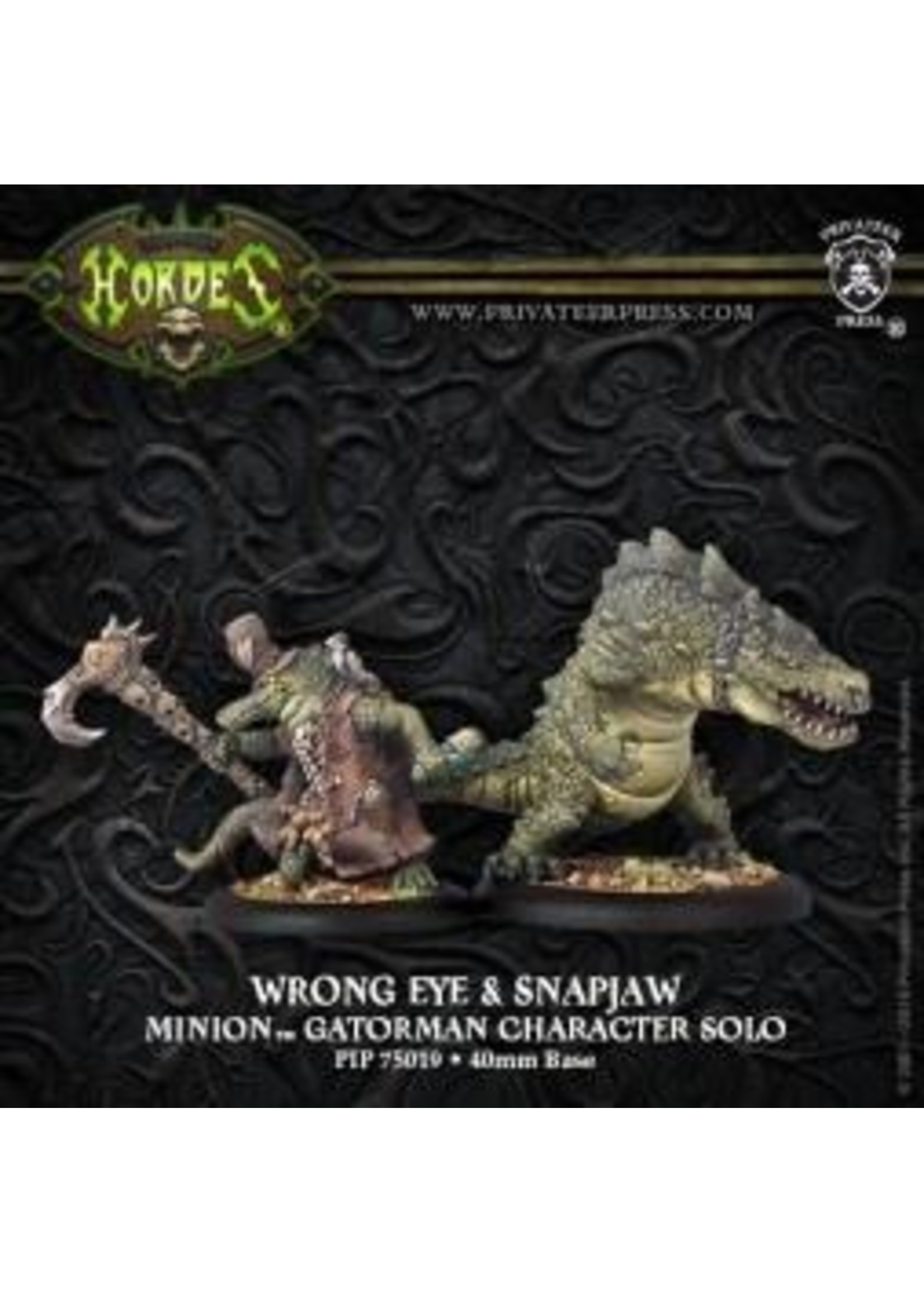 Hordes: Minions Wrong Eye and Snapjaw Minion Gatorman Character Solo and Mercenary Minion Gatorman Character Heavy Warbeast (White Metal)