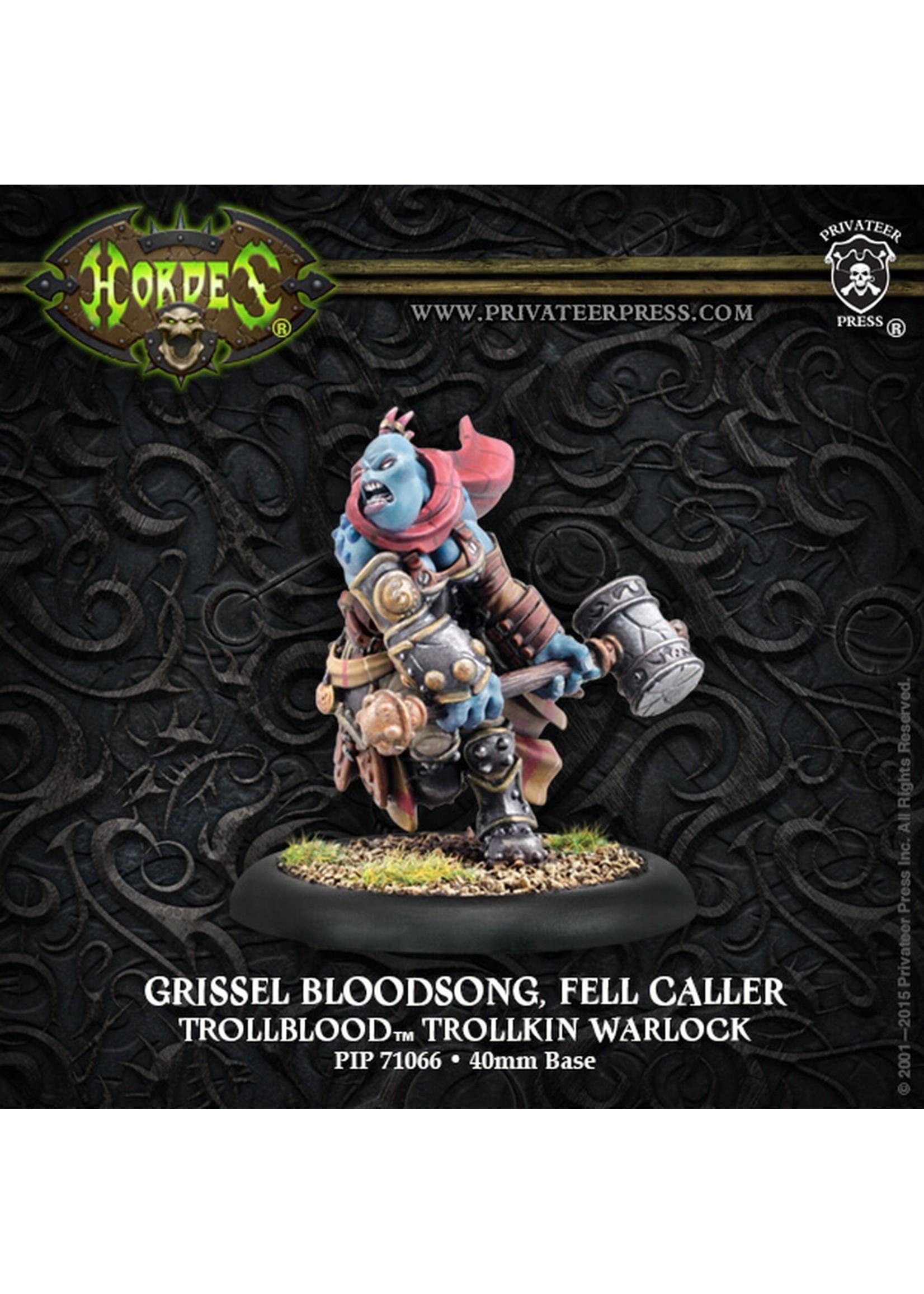 Hordes: Trollblood Grissel Bloodsong, Fell Caller Trollkin Warlock (White Metal Resculpt)
