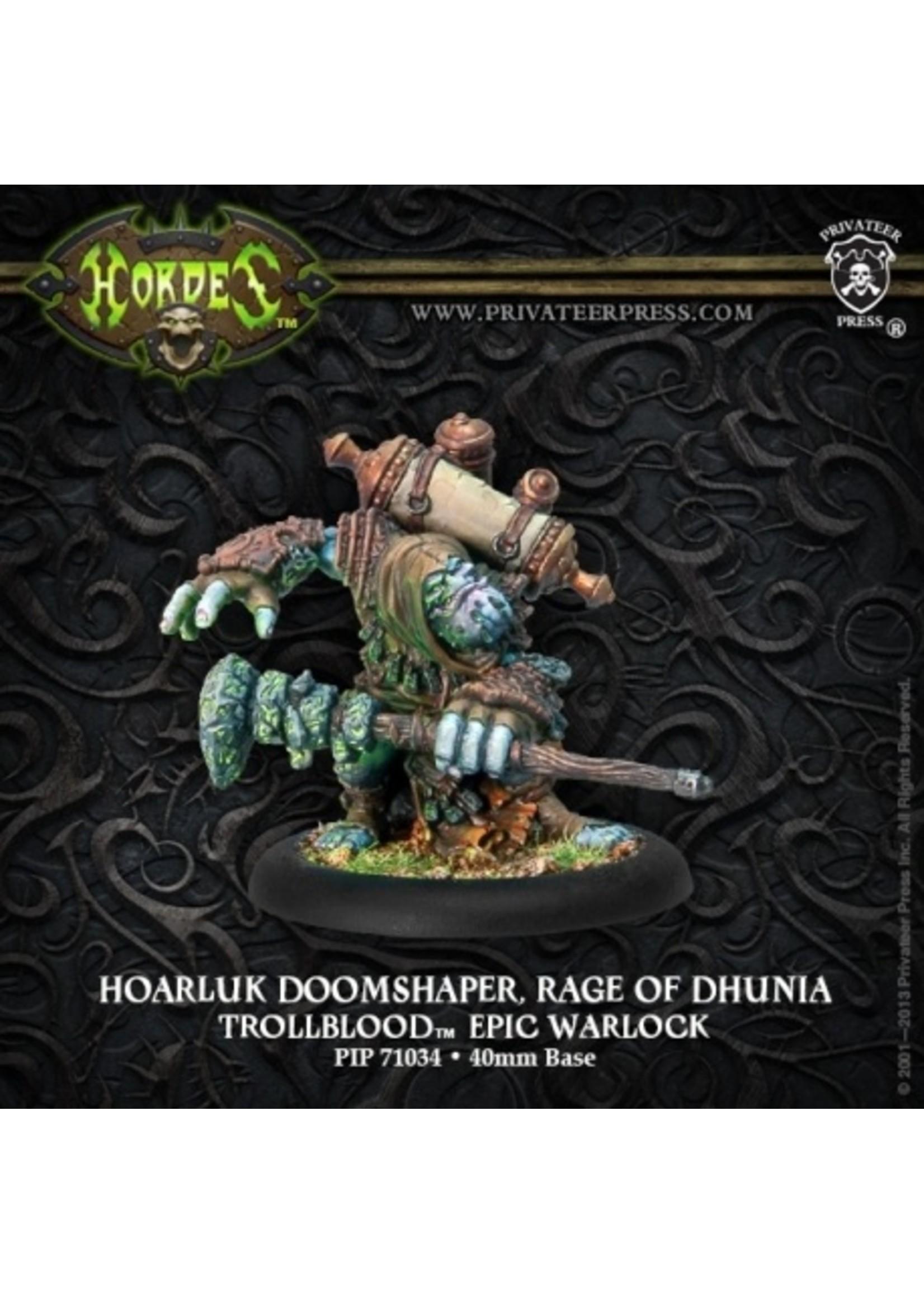 Hordes: Trollblood Hoarluk Doomshaper, Rage of Dhunia Trollkin Epic Warlock (White Metal)