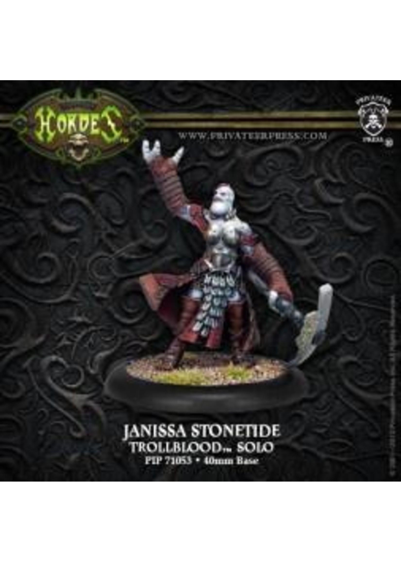 Hordes: Trollblood Janissa Stonetide Trollkin Runeshaper Character Solo (White Metal)