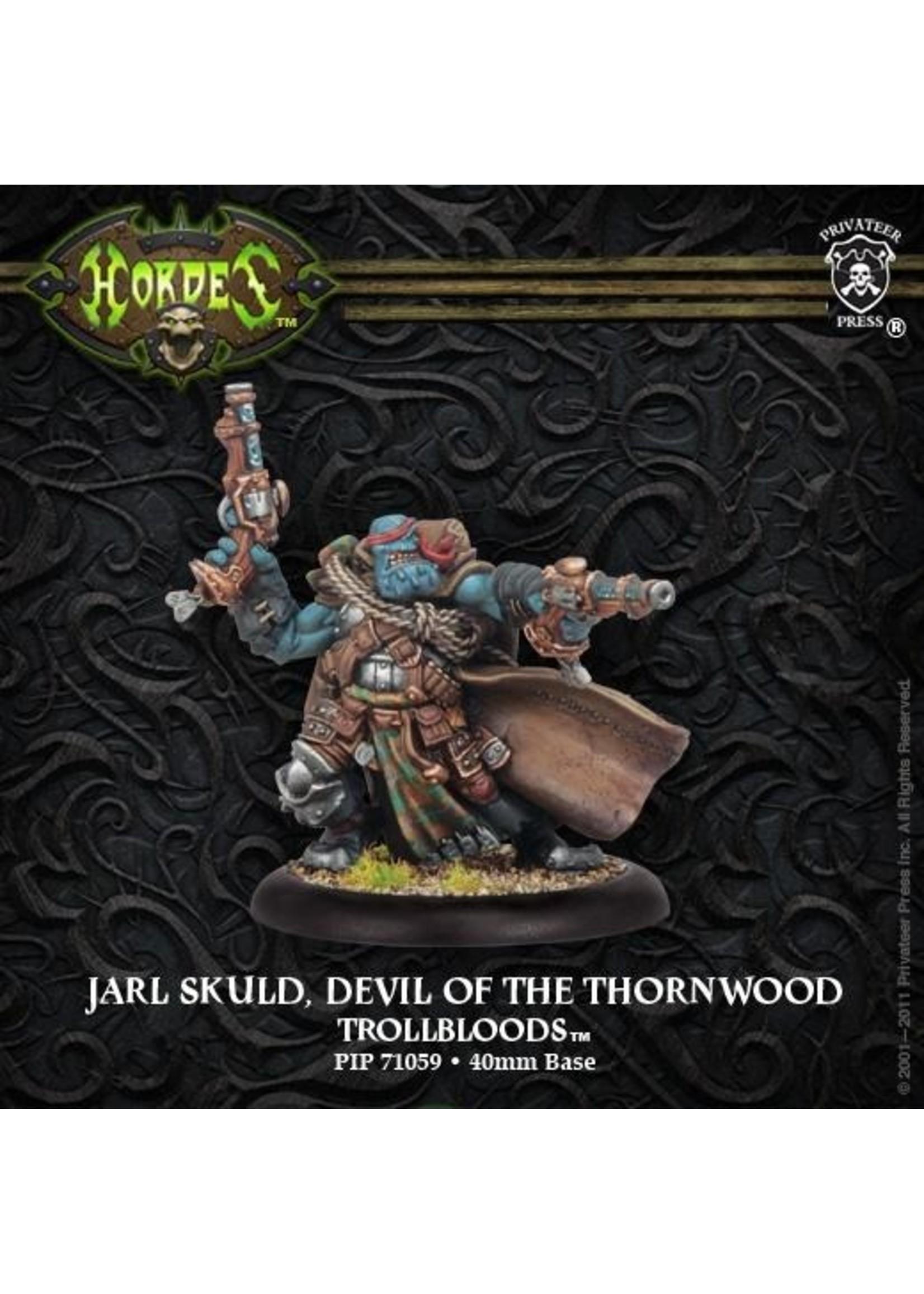Hordes: Trollblood Jarl Skuld, Devil of the Thornwood Trollkin Warlock (White Metal)