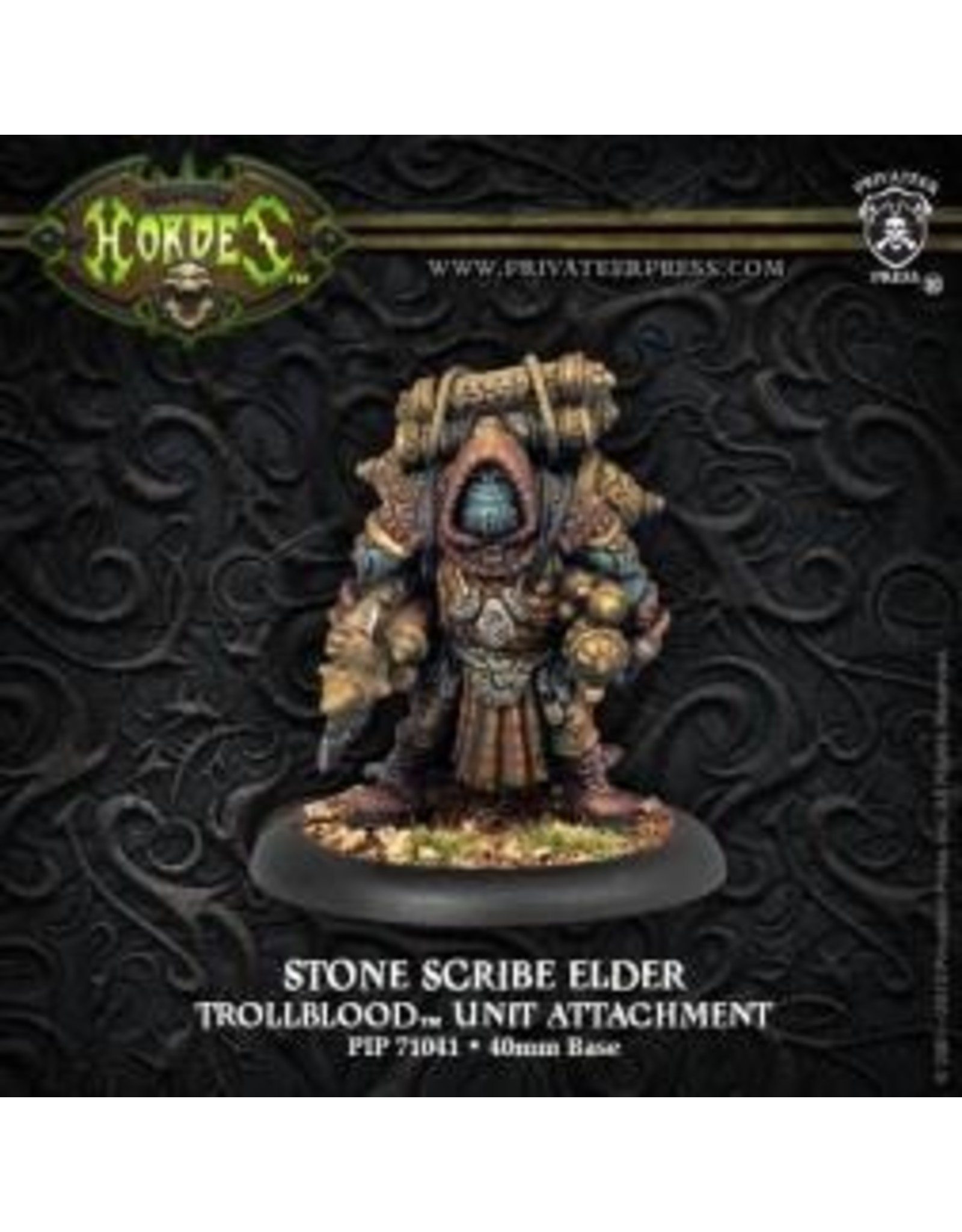 Hordes: Trollblood Stone Scribe Elder Trollkin Unit Attachment (White Metal)