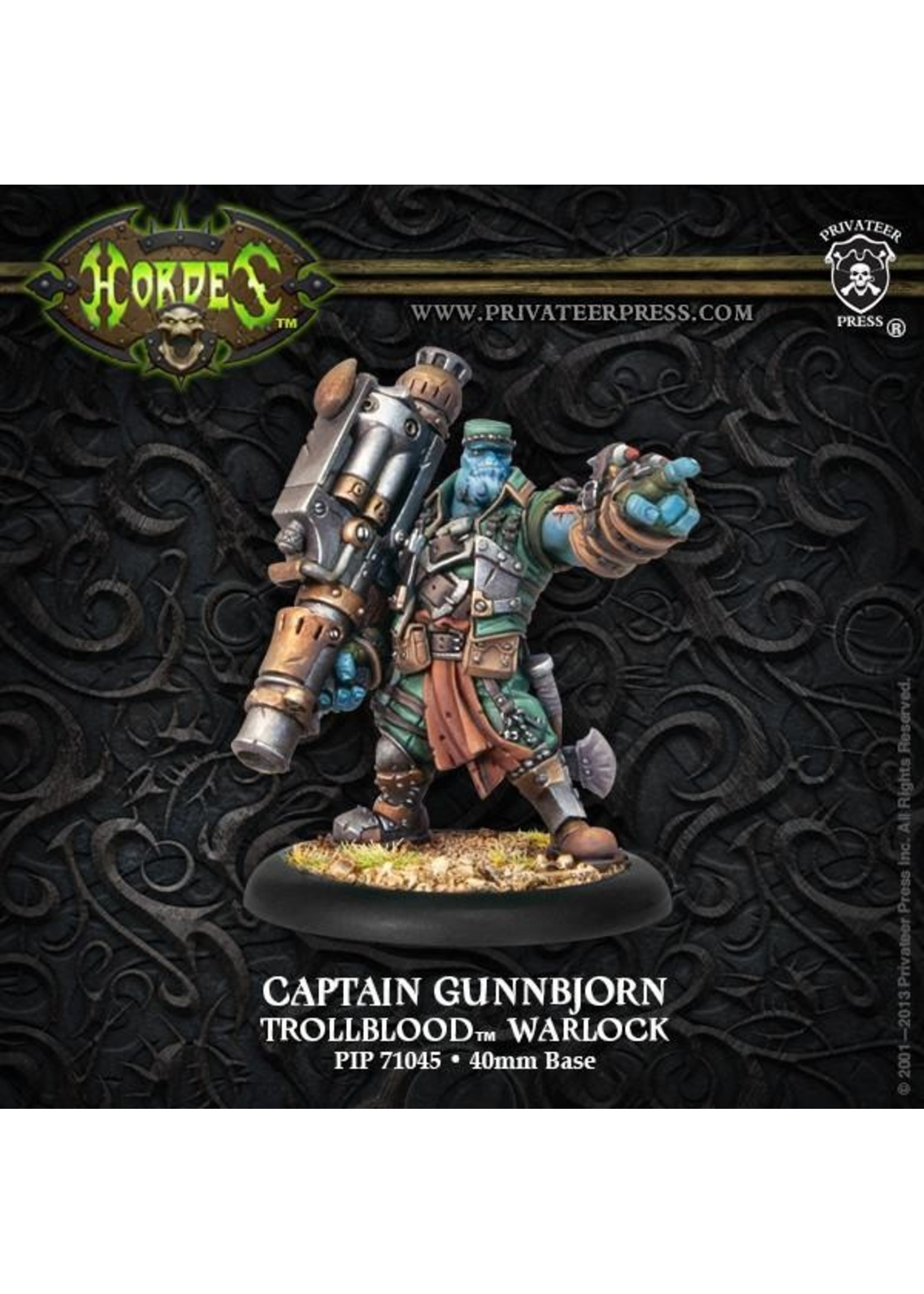 Hordes: Trollblood Captain Gunnbjorn Trollkin Warlock (White Metal)