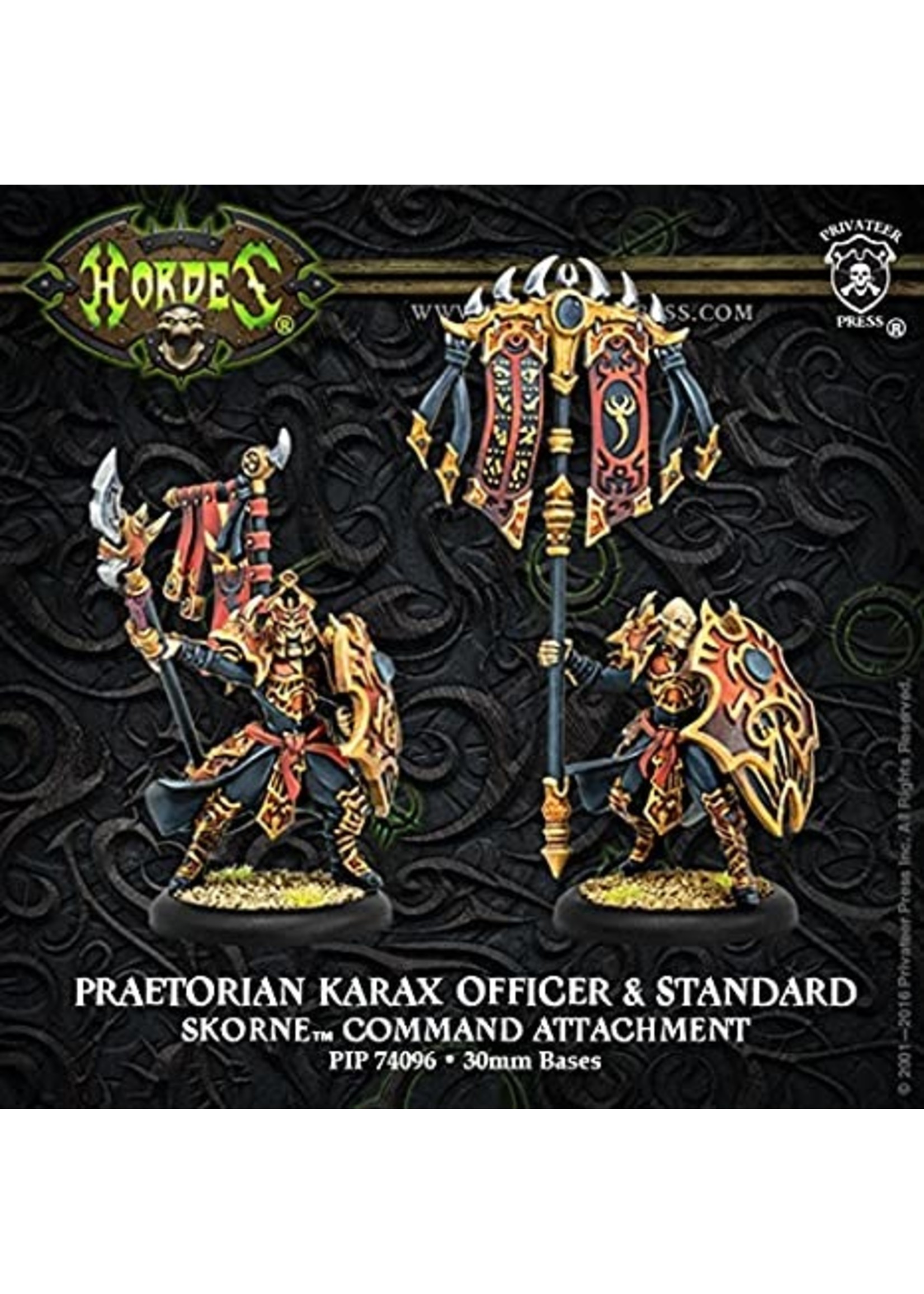 Hordes: Skorne Praetorian Karax Commander & Standard Command Attachment (Resin and White Metal)