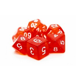 Old School Dice 7 Translucent Red
