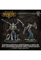 Warmachine: Cryx Master Necrotech Mortenebra and Deryliss Warcaster and Skarlock Thrall Character Solo (White Metal)