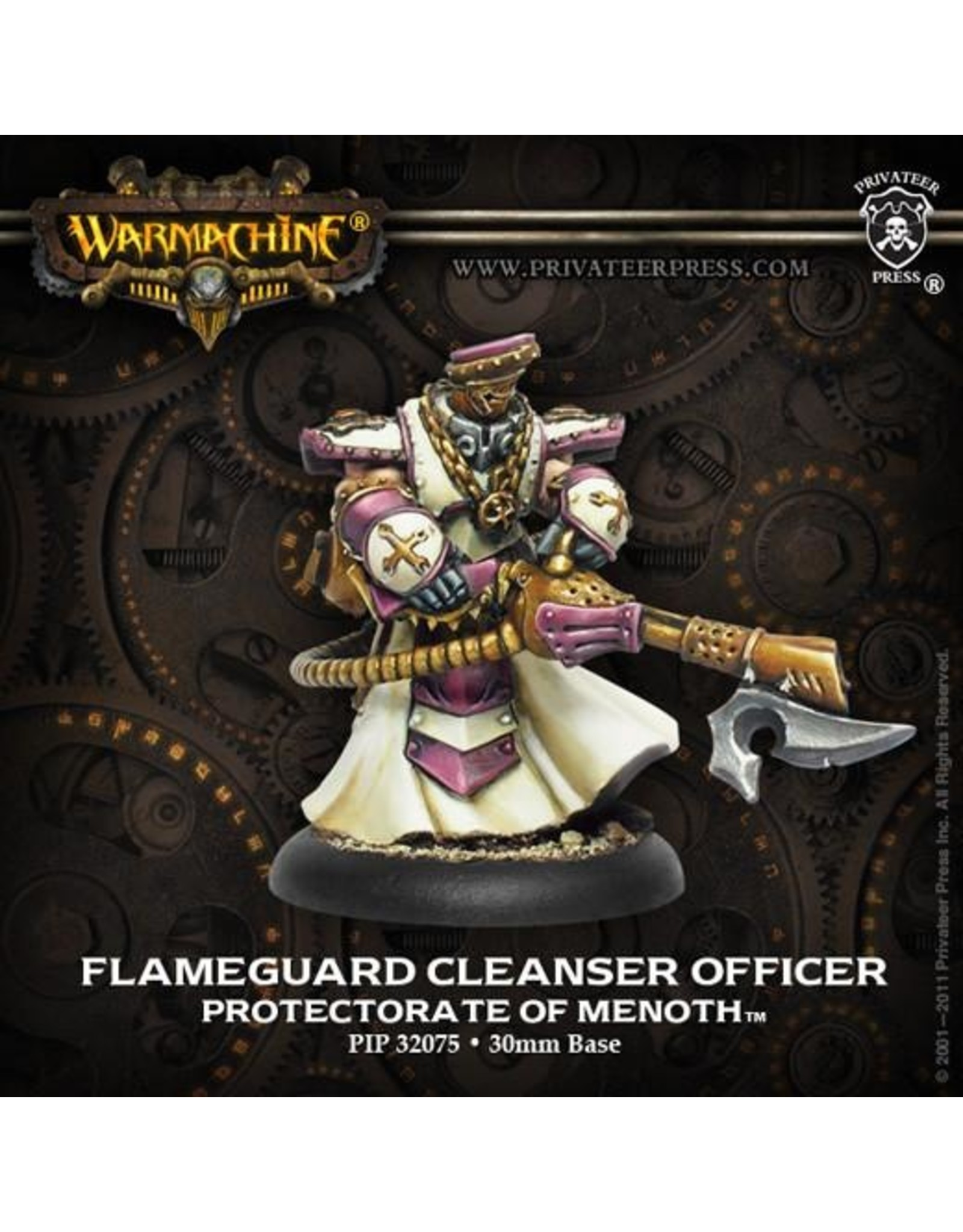 Warmachine: The Protectorate of Menoth Flameguard Cleanser Officer (White Metal)