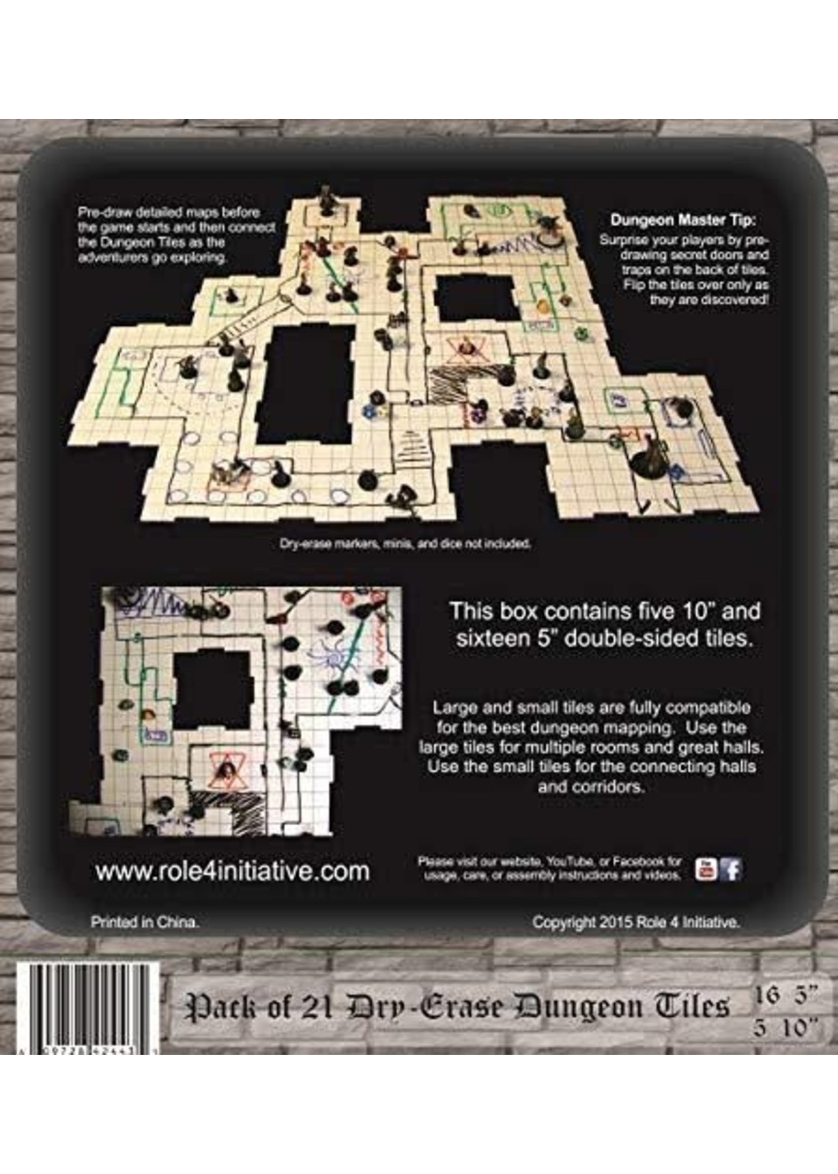Dry Erase Dungeon Tiles - Combo Pack of Four 10' and Sixteen 5' Interlocking Tiles