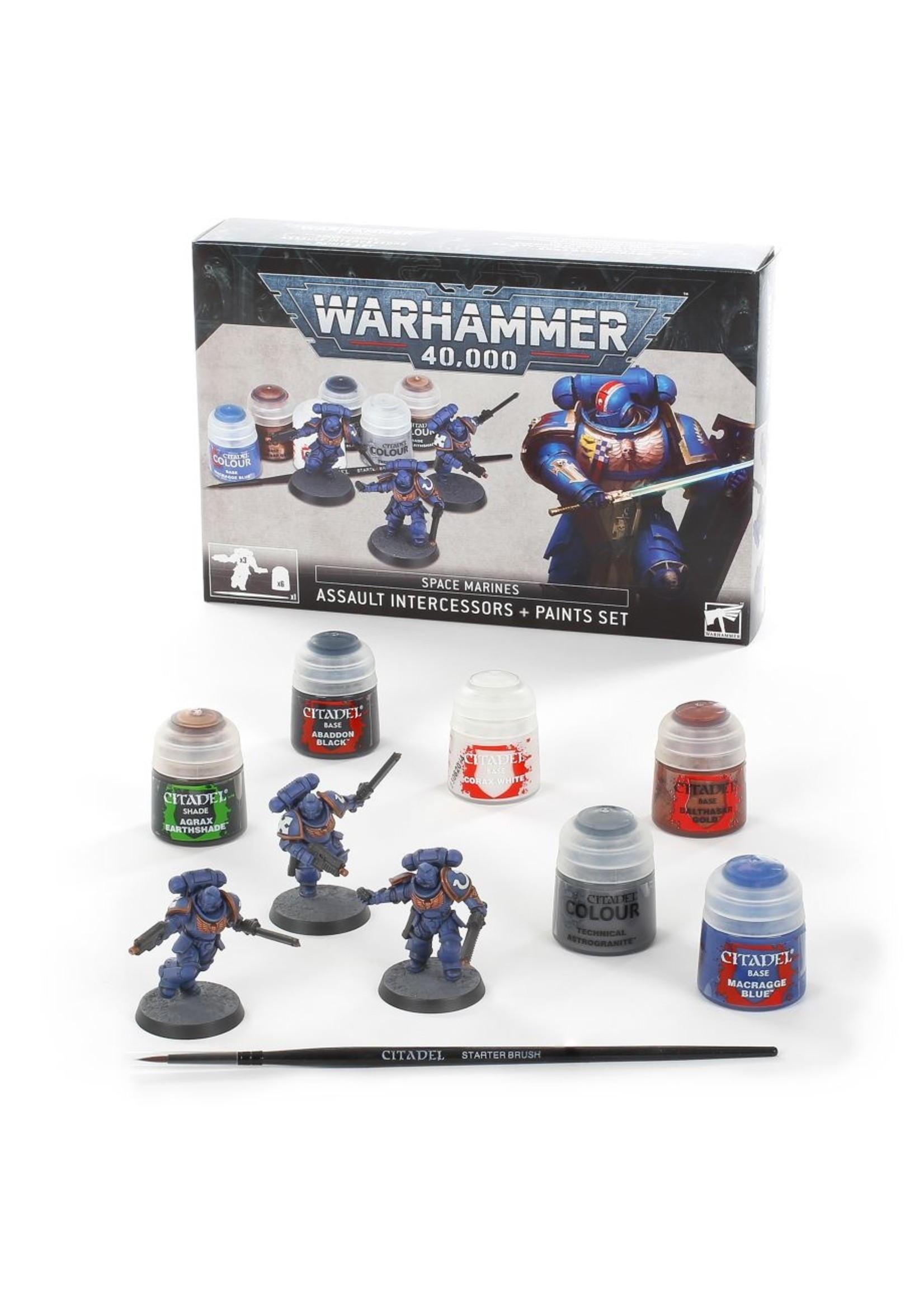 Warhammer 40k: Space Marines Assault Intercessors + Paint Set