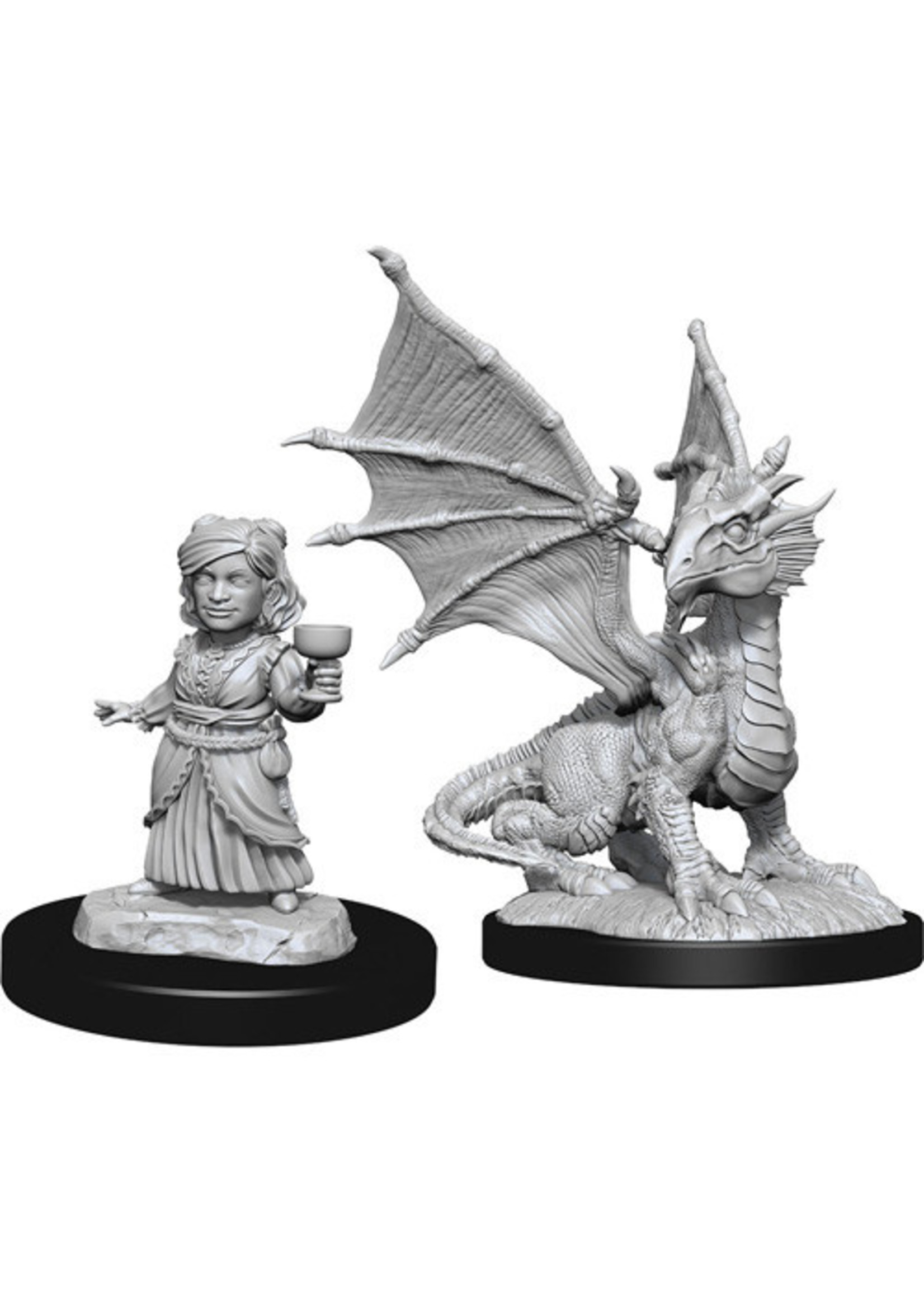 Dungeons & Dragons Nolzur`s Marvelous Unpainted Miniatures: W13 Silver Dragon Wyrmling & Female Halfling