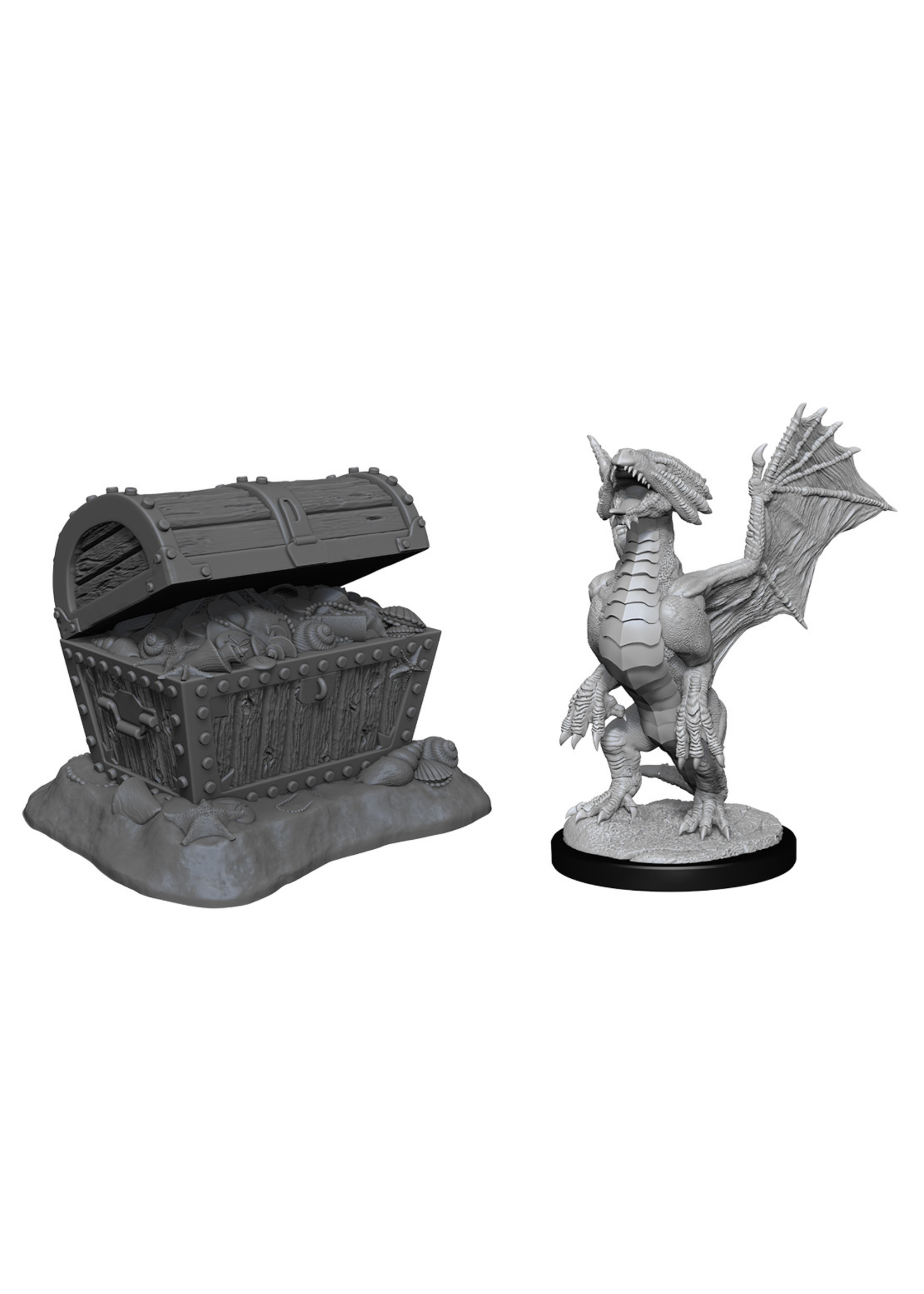 Dungeons & Dragons Nolzur`s Marvelous Unpainted Miniatures: W13 Bronze Dragon Wyrmling & Pile of Sea found Treasure