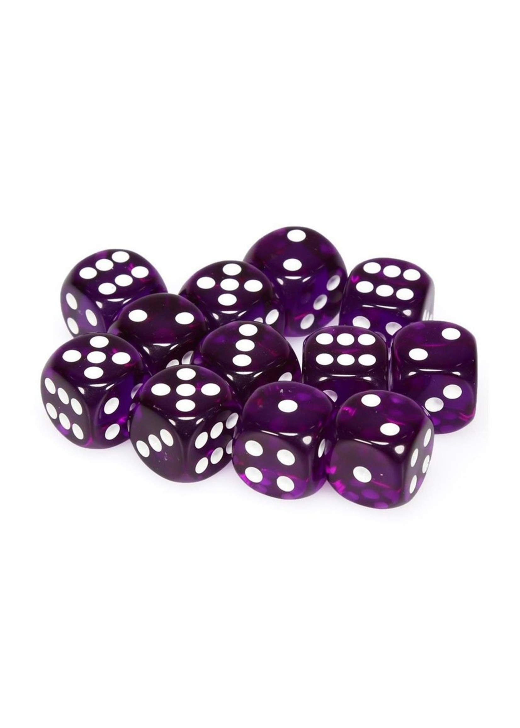 Translucent: 16mm D6 Purple/White (12)