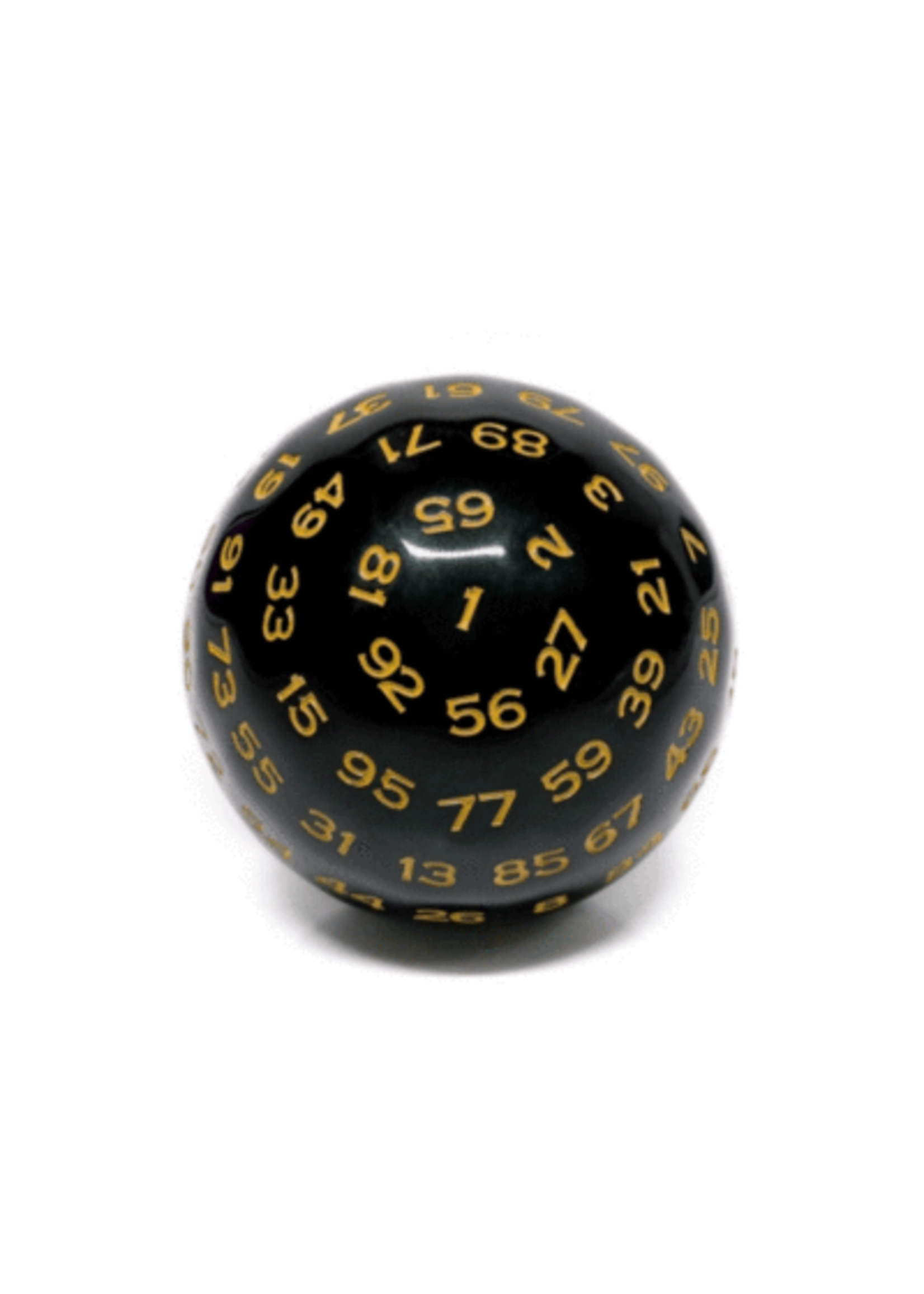 100 Sided Die - Black Opaque with Yellow D100