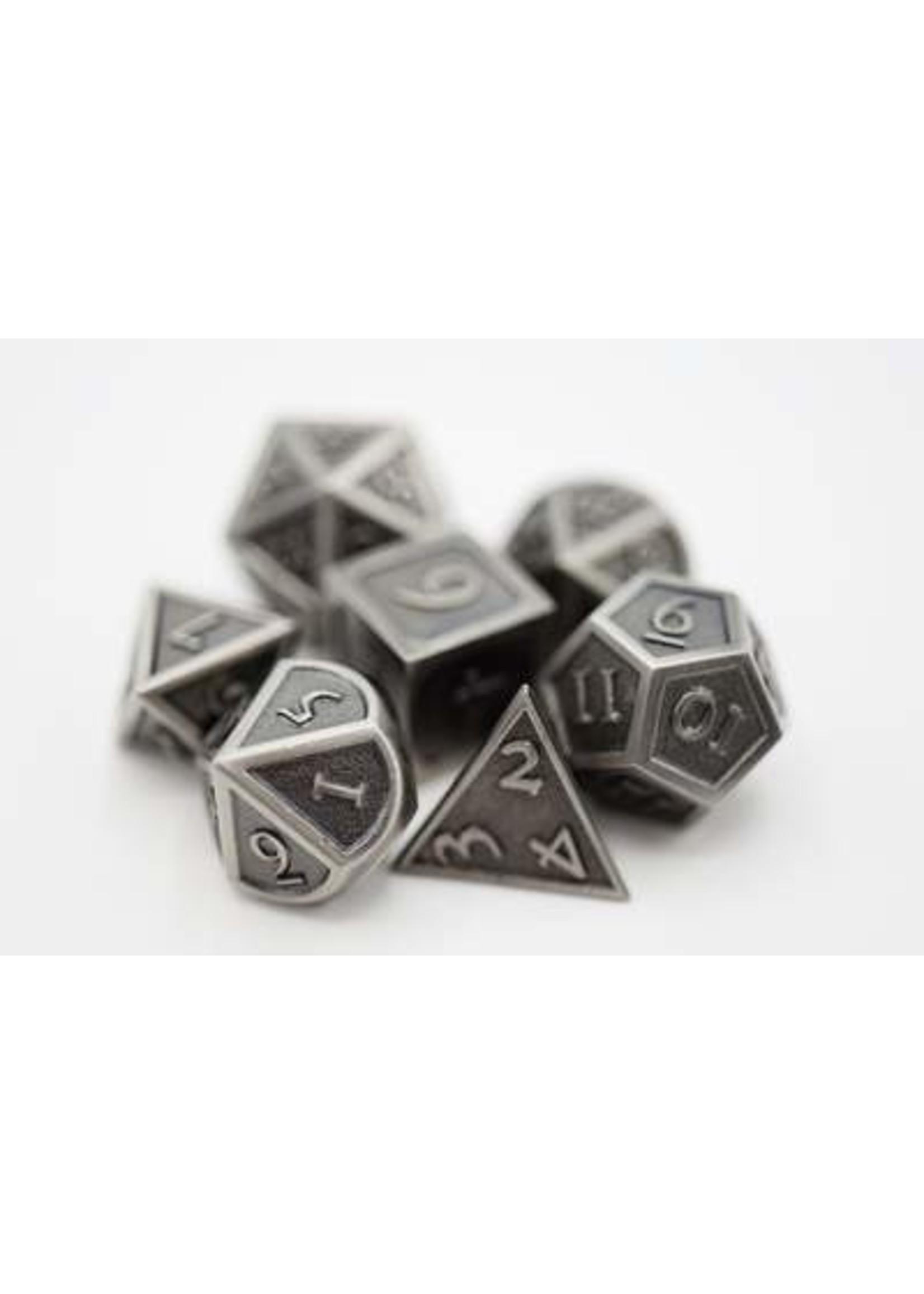Embossed Antique Silver Metal RPG Dice Set