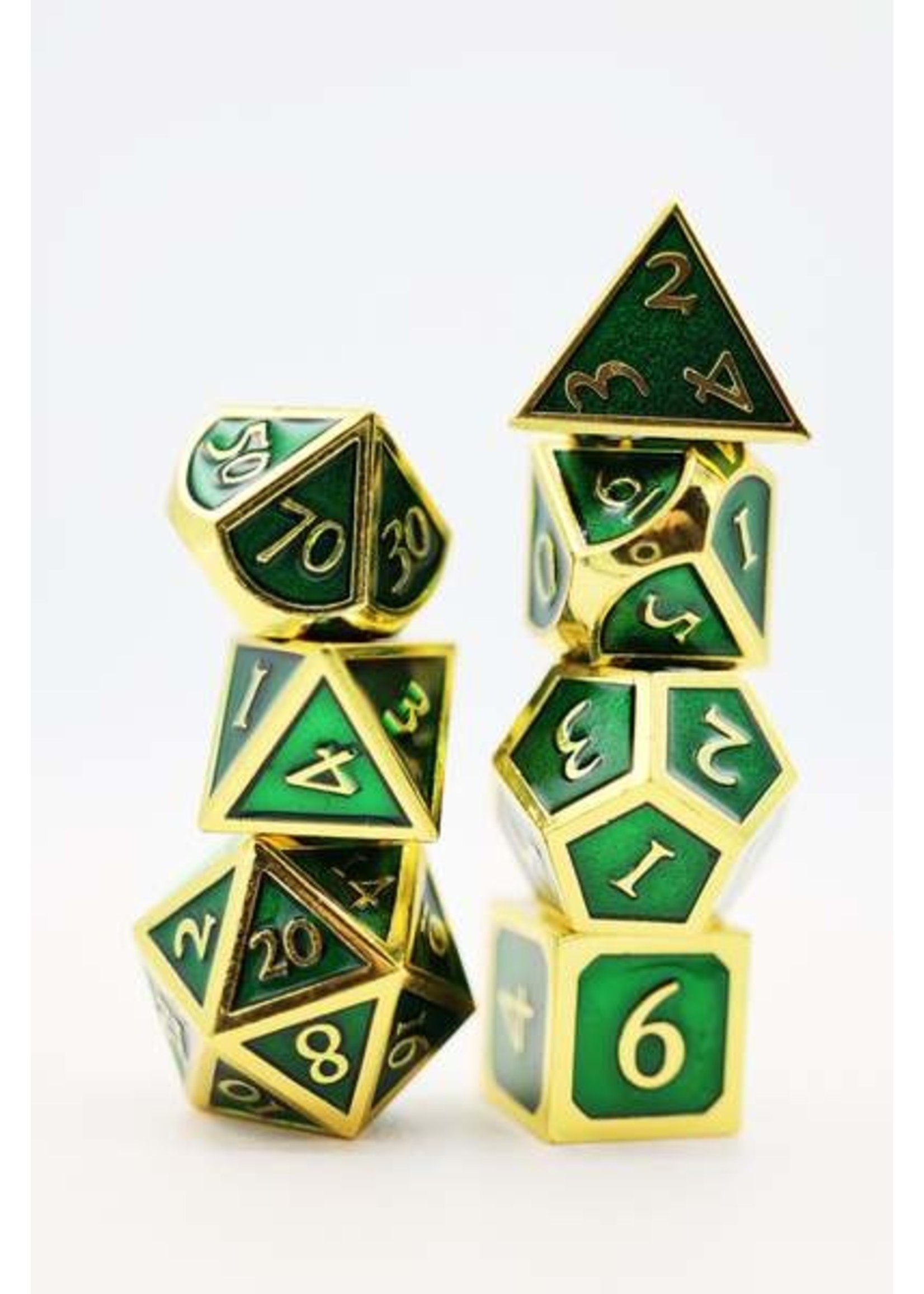 Gold with Emerald Metal RPG Dice Set
