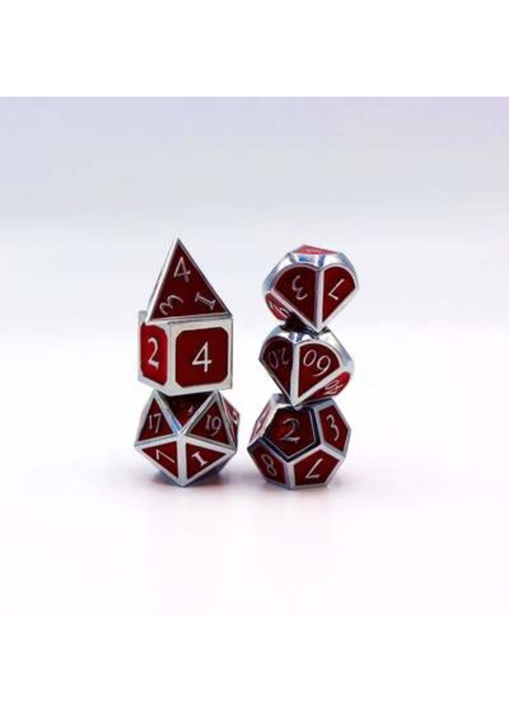 Silver with Ruby Metal RPG Dice Set