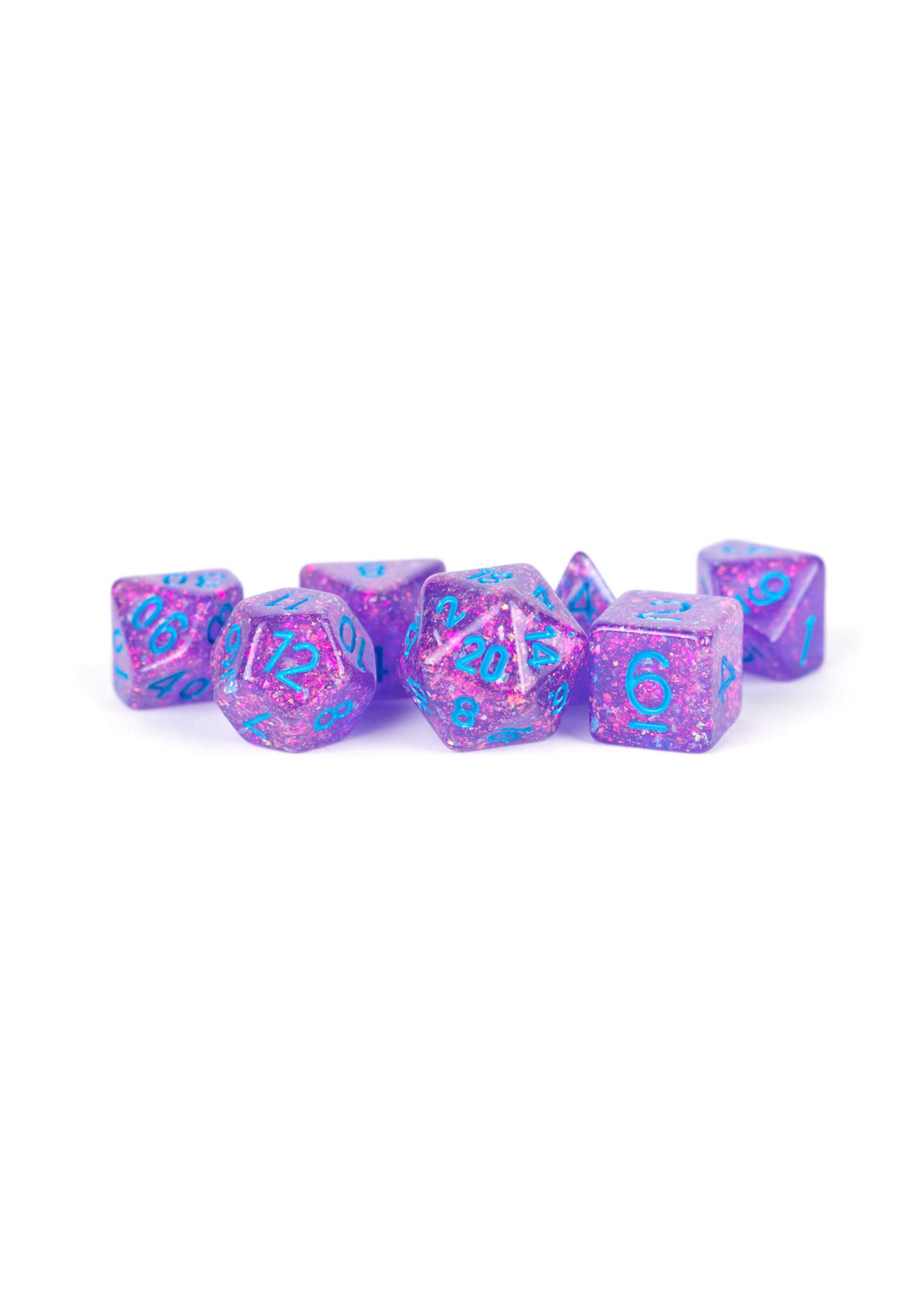 16mm Resin Flash Dice Poly Set: Purple (7)