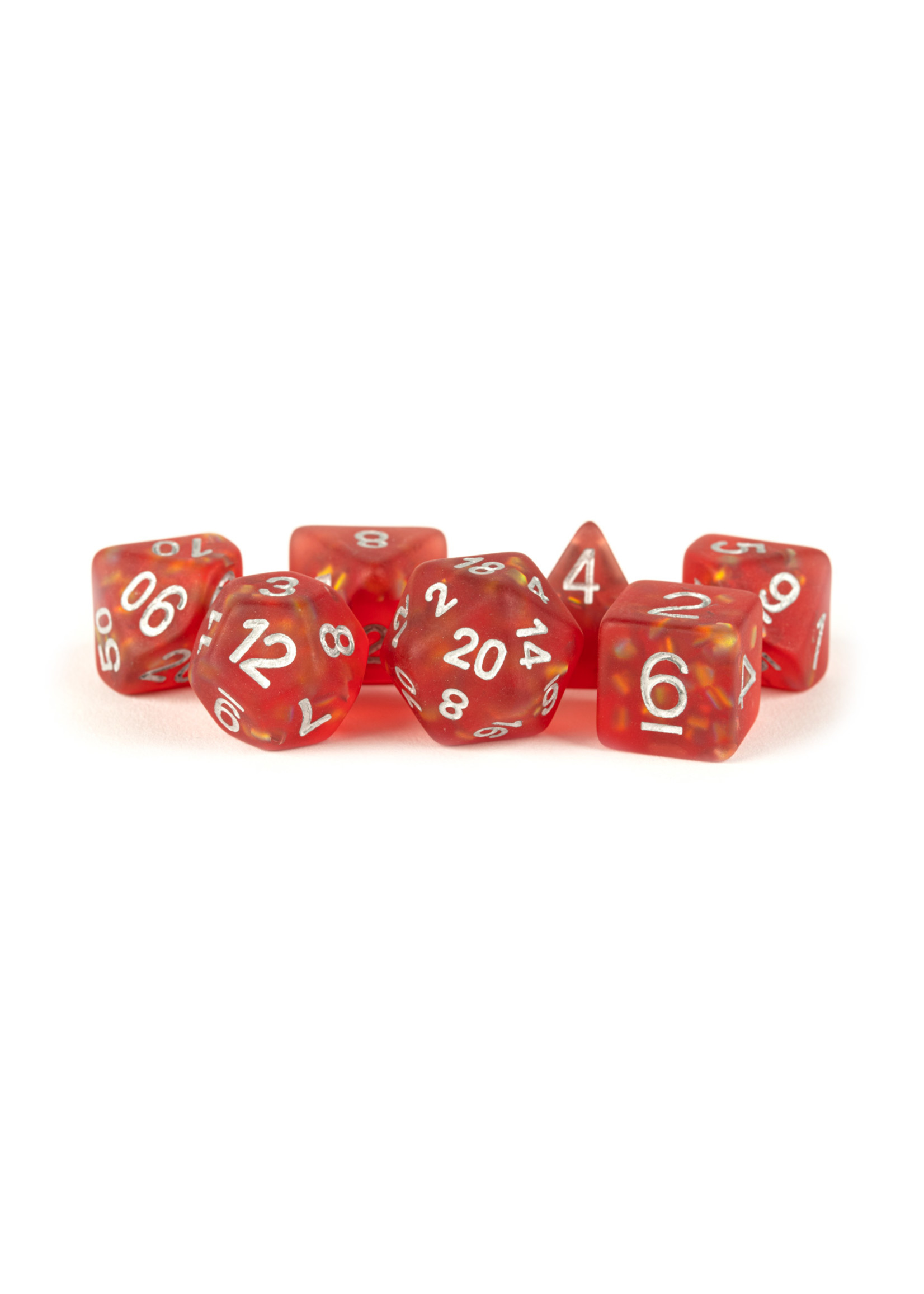 Icy Opal Resin: 16mm Dice Poly Set Red/Silver Numbers (7)