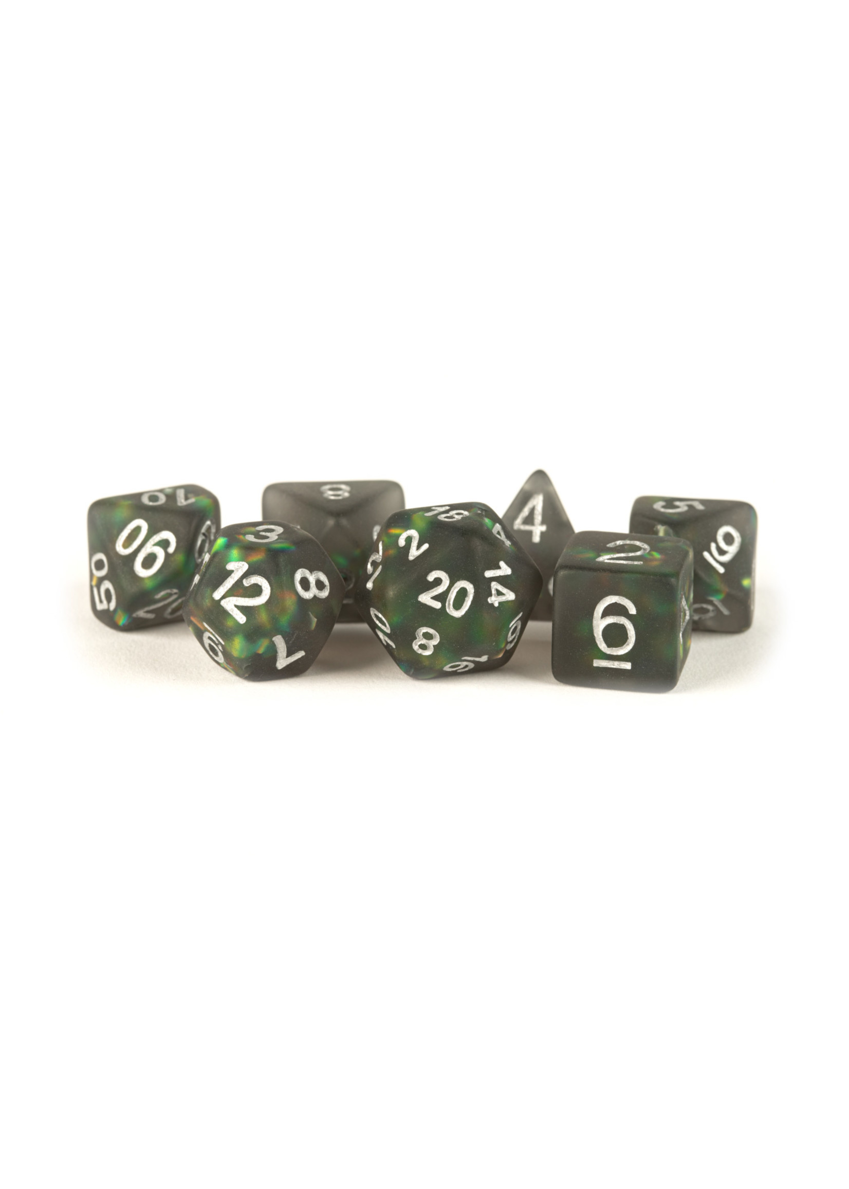 Icy Opal Resin: 16mm Dice Poly Set Black /Silver Numbers (7)