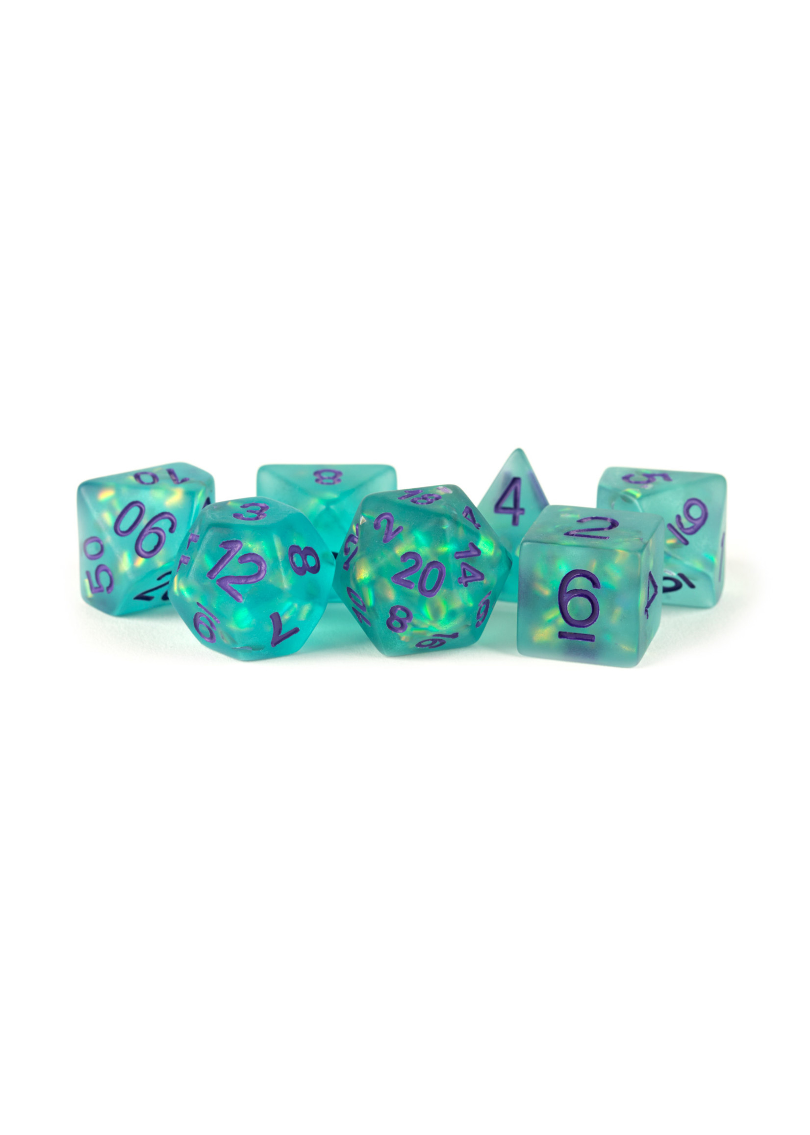 Icy Opal Resin: 16mm Dice Poly Set Teal/Purple Numbers (7)