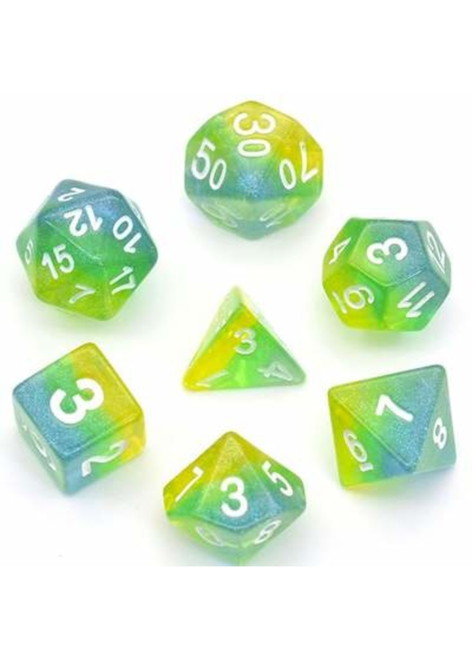 Blue Green & Yellow Shimmer Layer RPG Dice