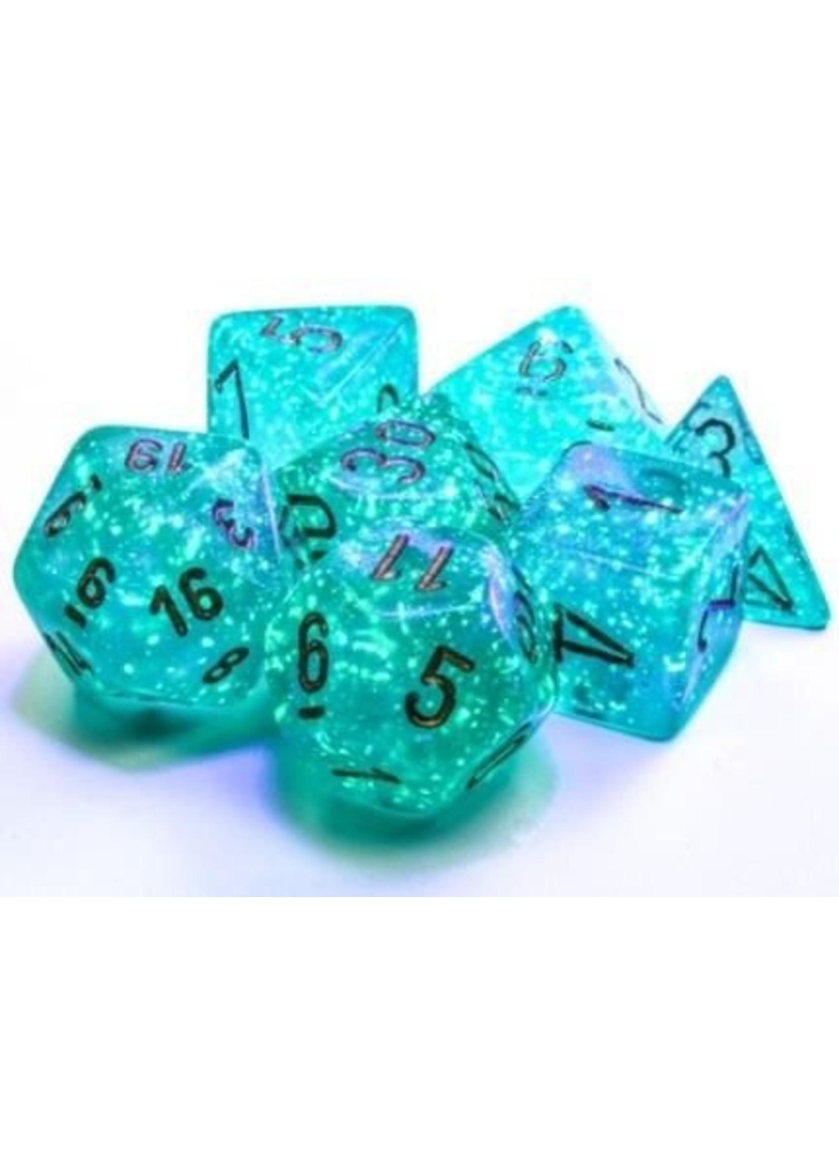 Borealis: Polyhedral Teal/gold Luminary 7-Die Set