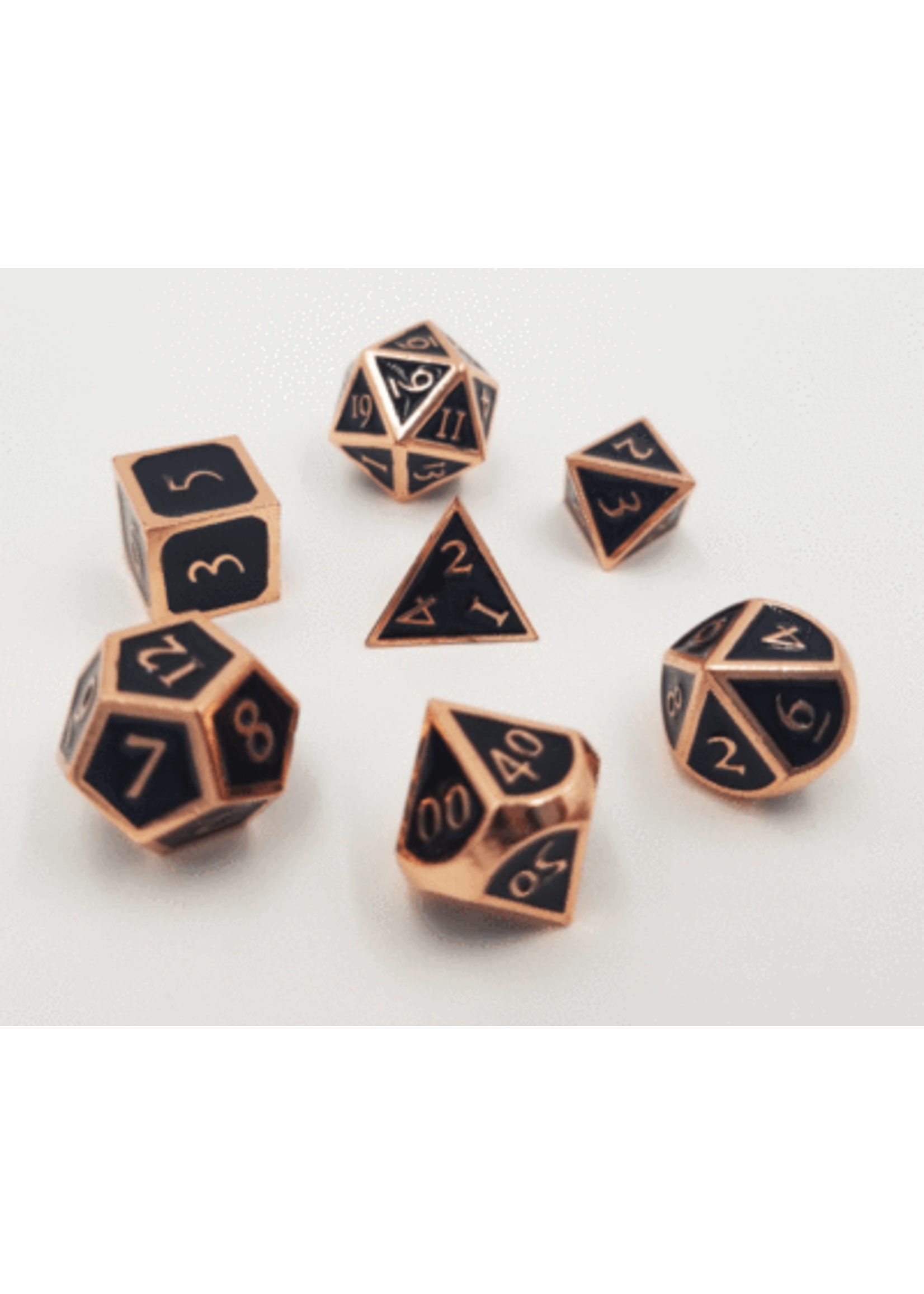 Copper with Onyx Metal RPG Dice Set