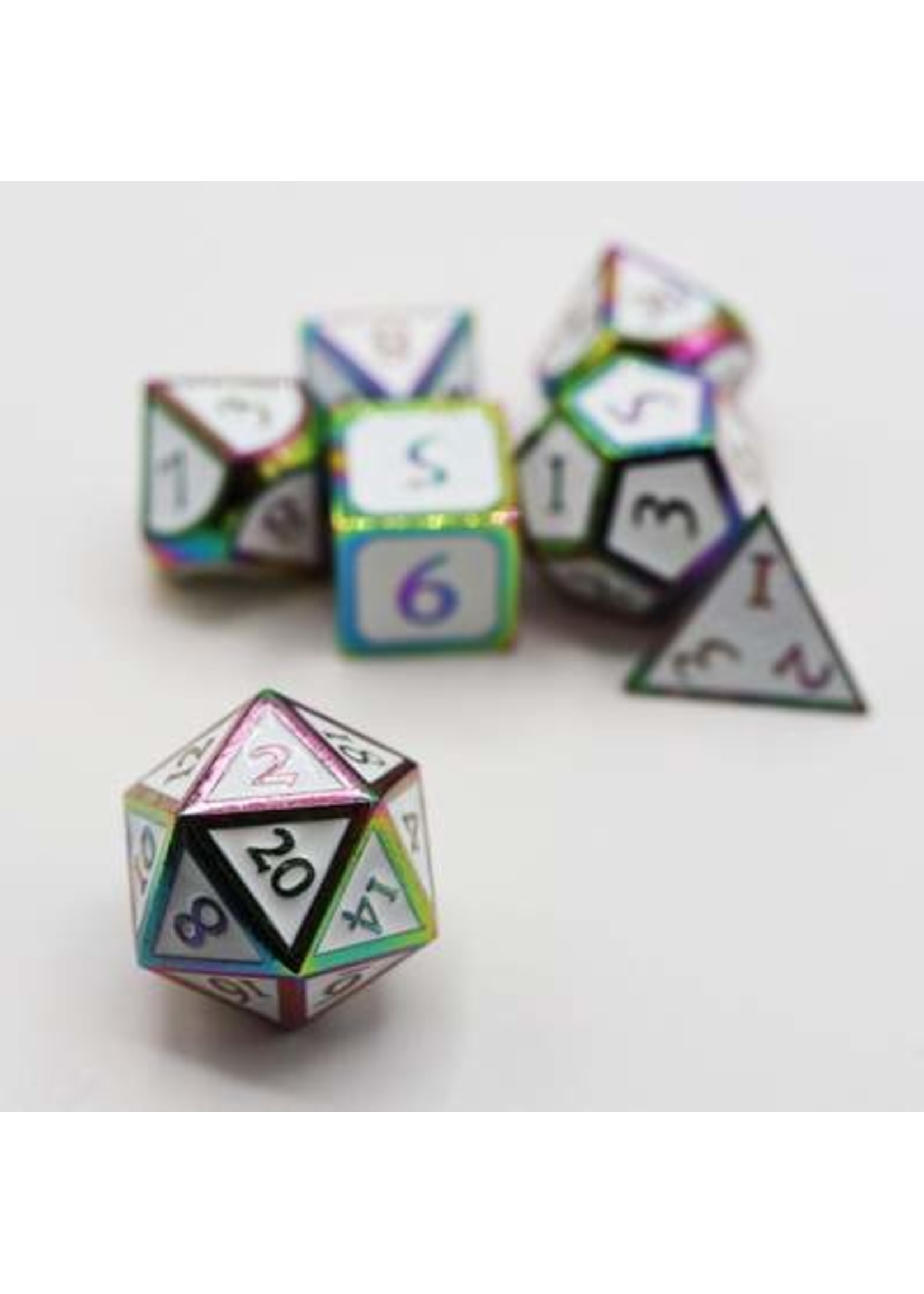 Burnt Opal with White Metal RPG Dice Set