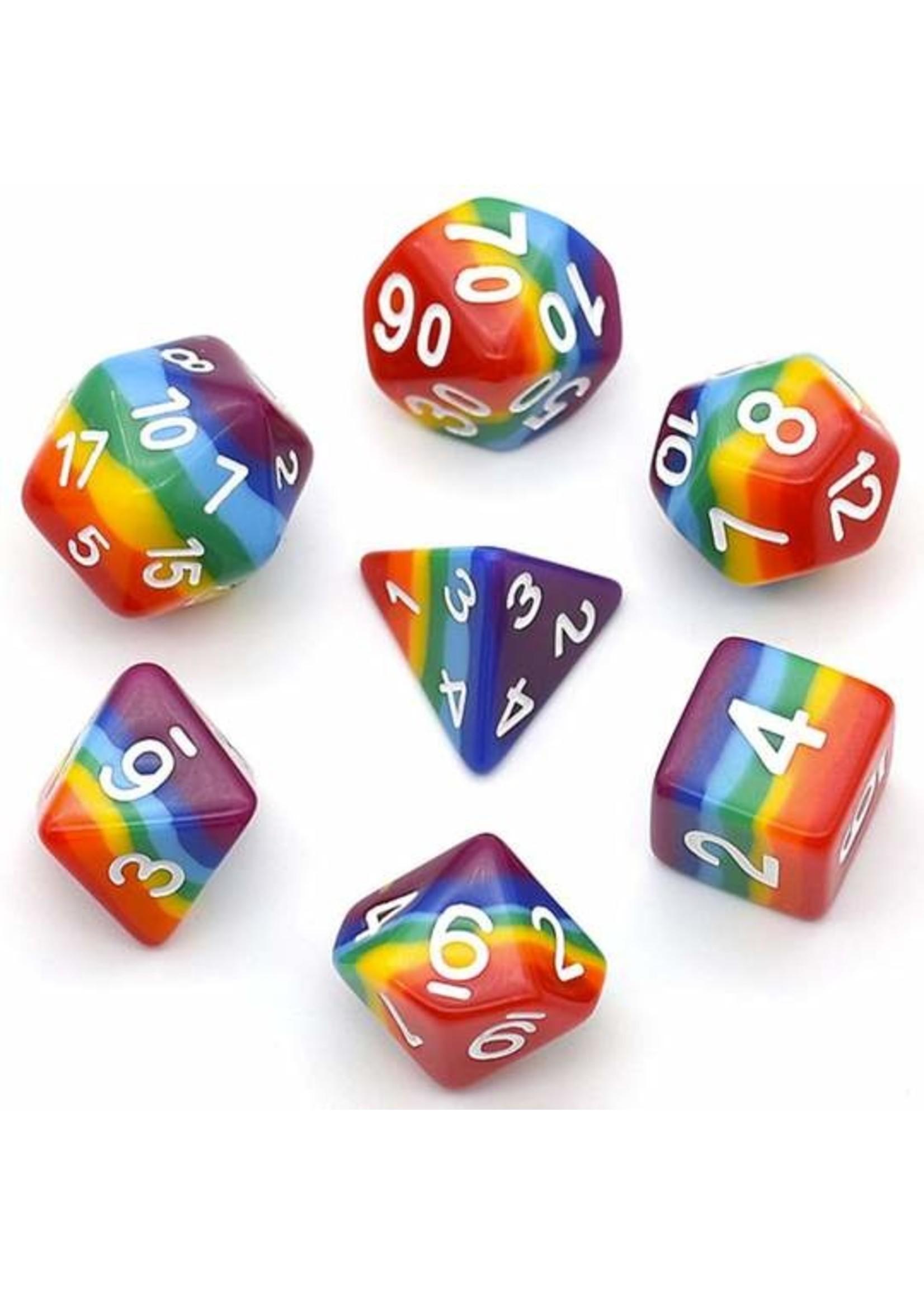 Opaque Rainbow RPG Dice Set