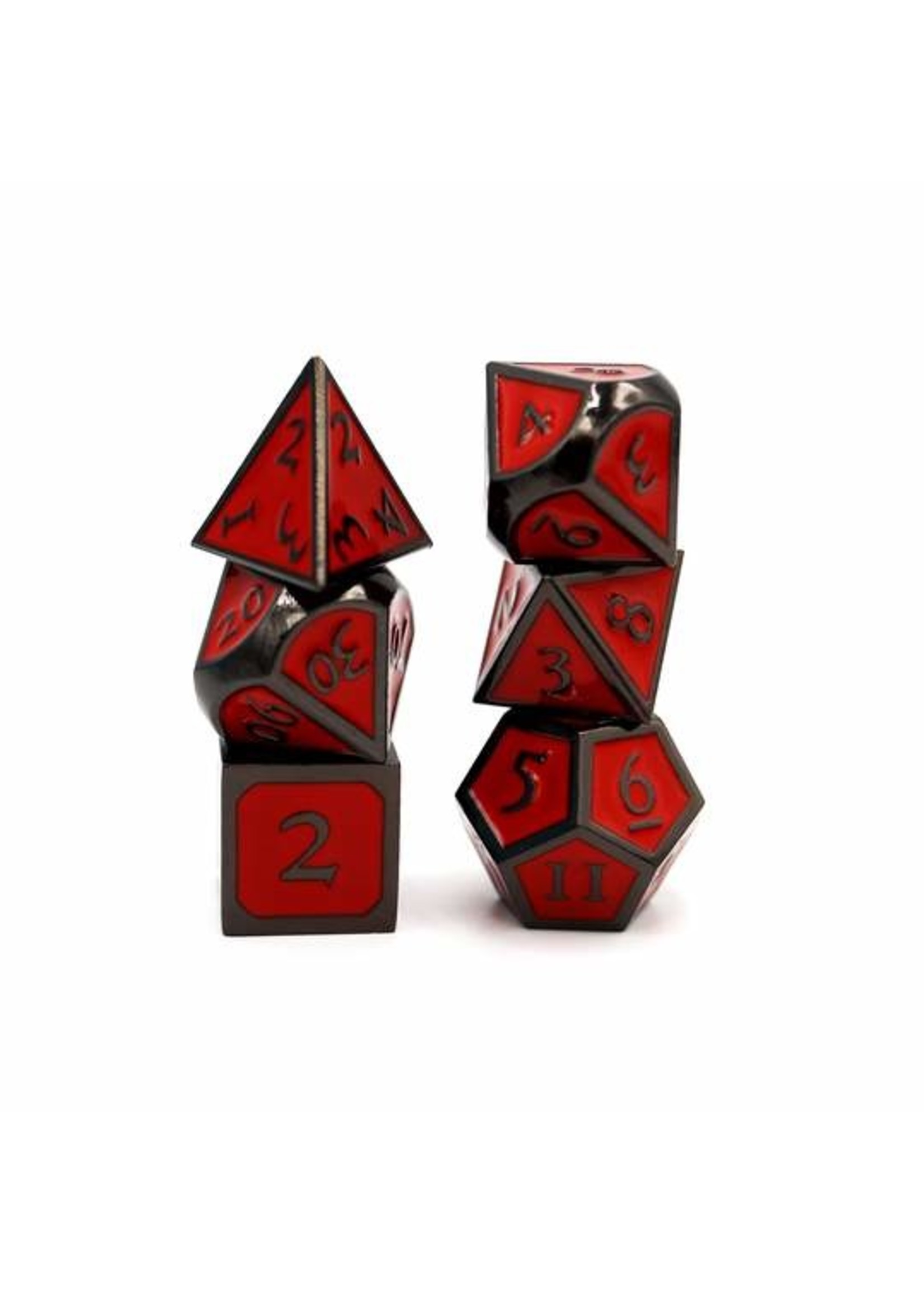 Midnight with Red Metal RPG Dice Set