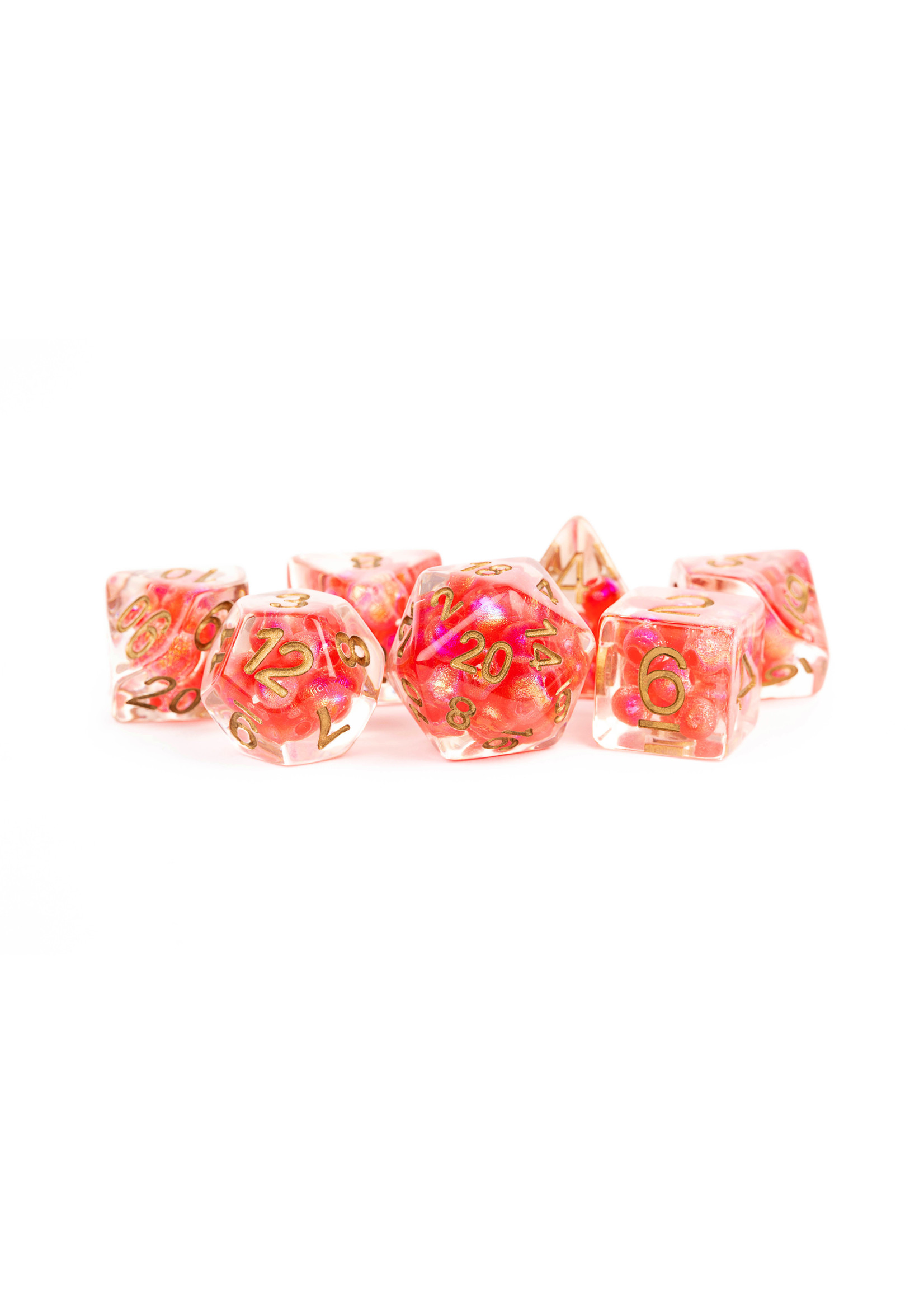 Pearl Resin 16mm Poly Dice Set: Red/Copper Numbers (7)