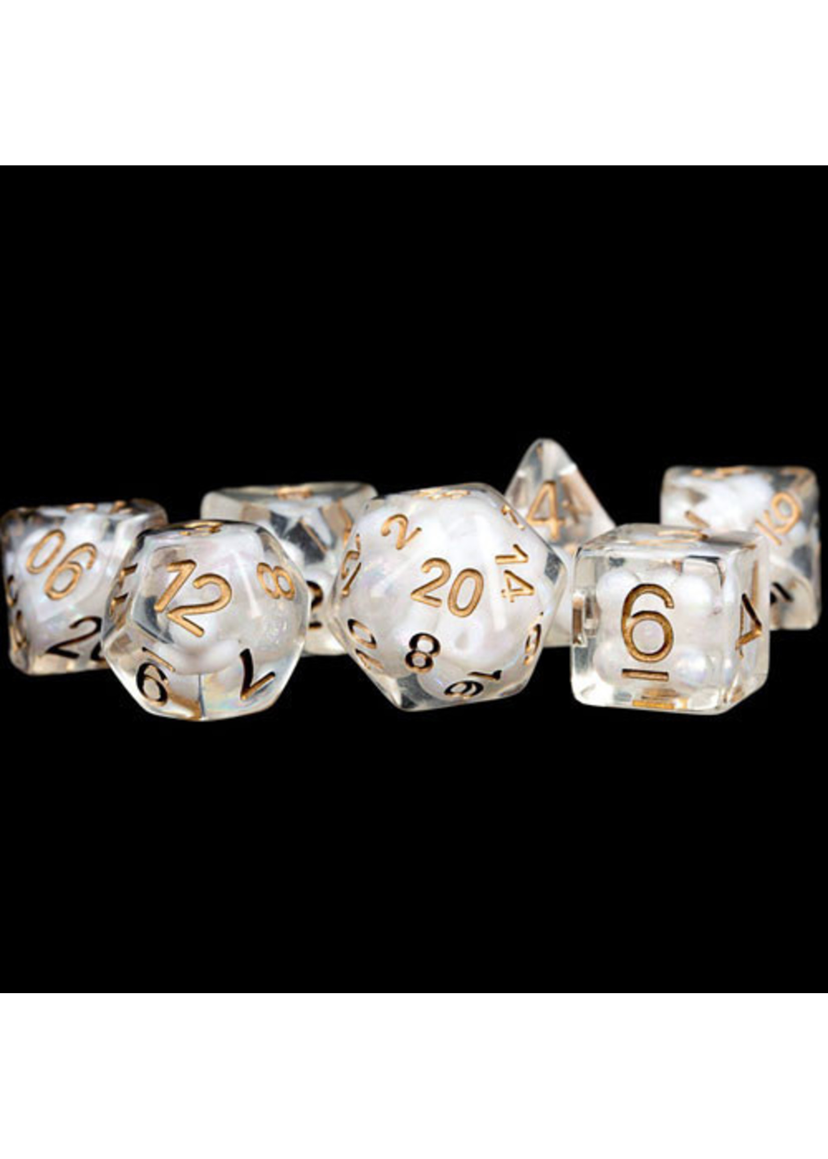 Pearl Resin 16mm Poly Dice Set: Pearl/Copper Numbers (7)