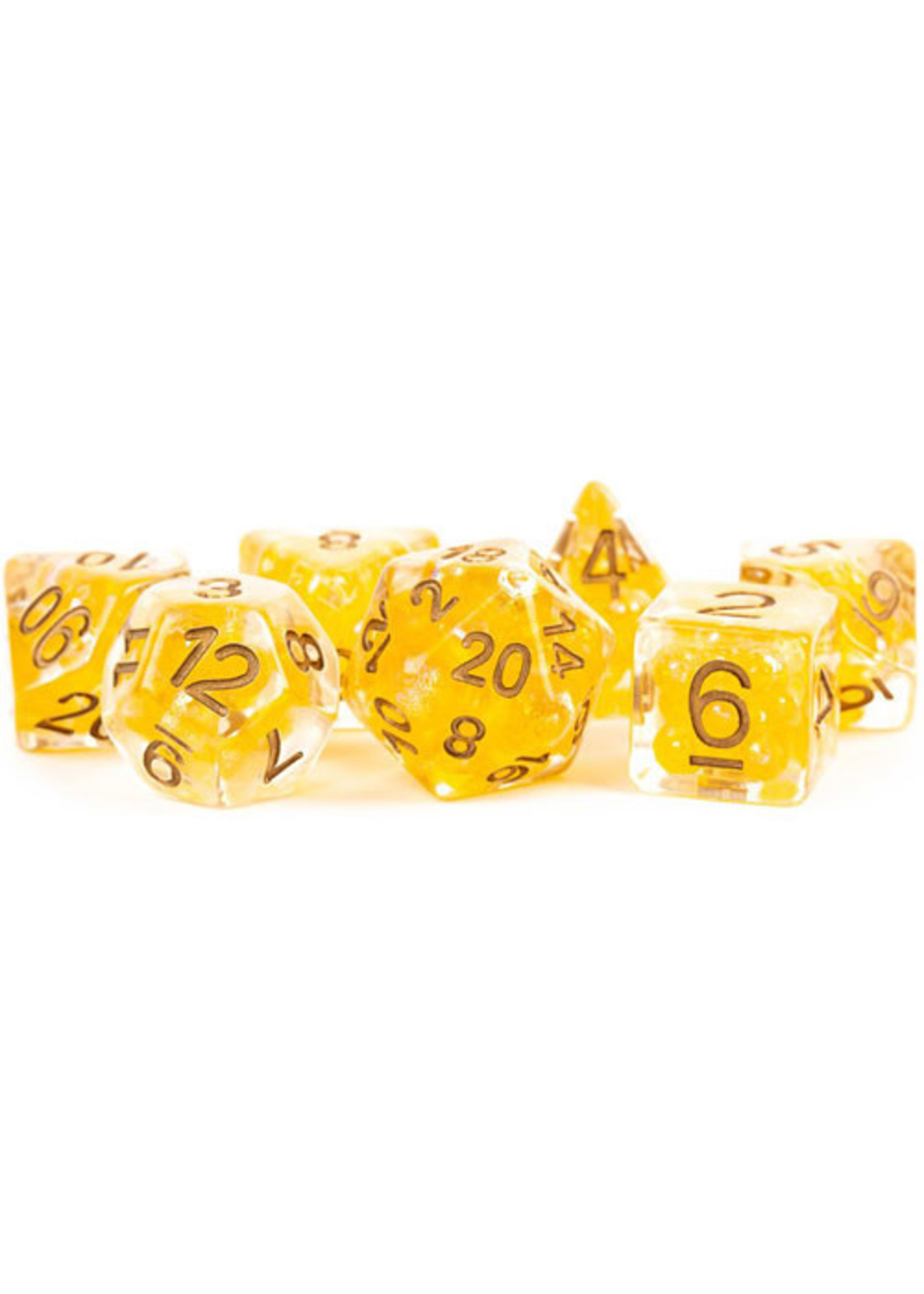 Pearl Resin 16mm Poly Dice Set: Citrine/Copper Numbers (7)