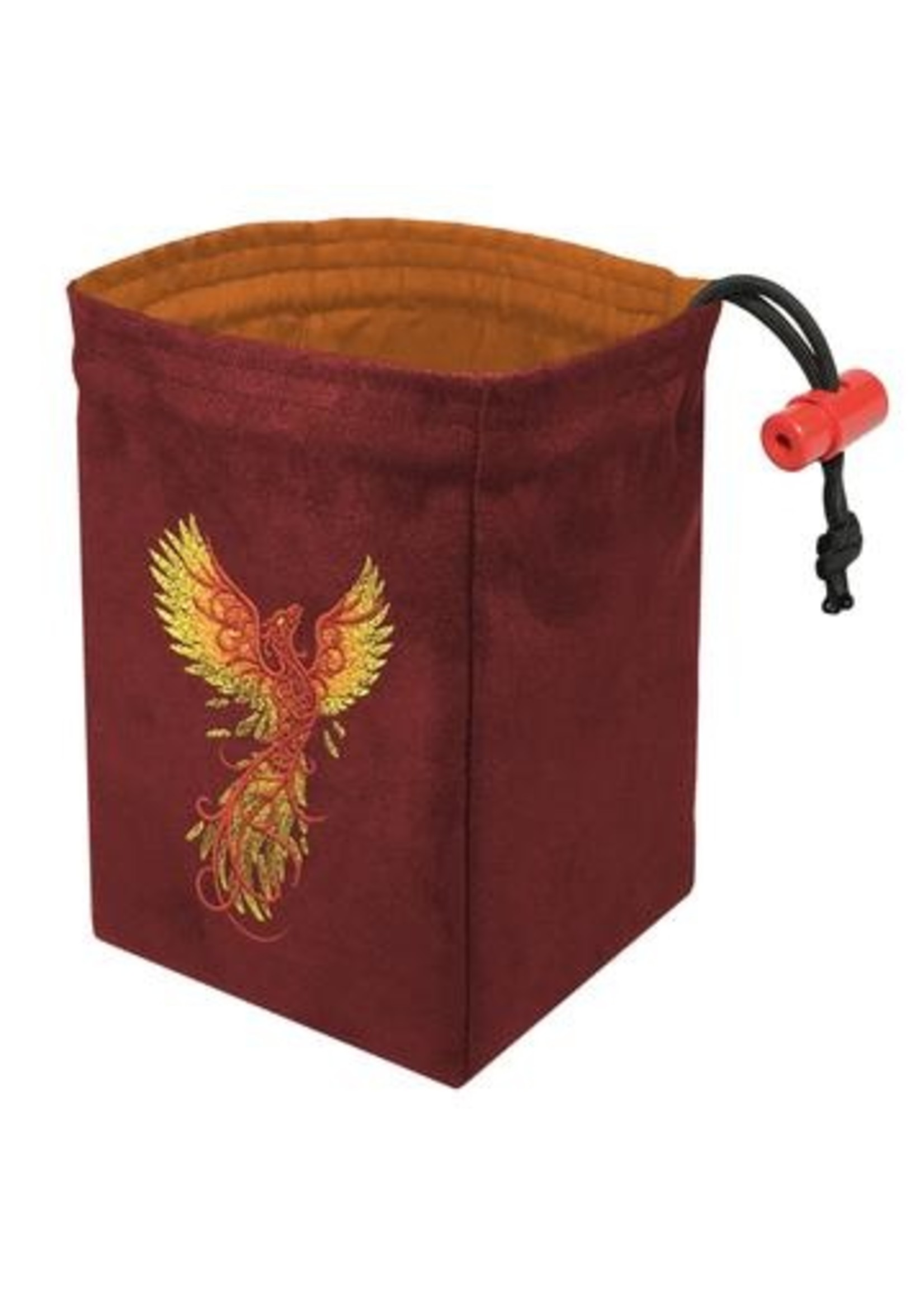 Embroidered Dice Bag: Phoenix Rising Red