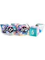 16mm Aluminum Plated Dice Set - Rainbow Aegis w/White Numbers