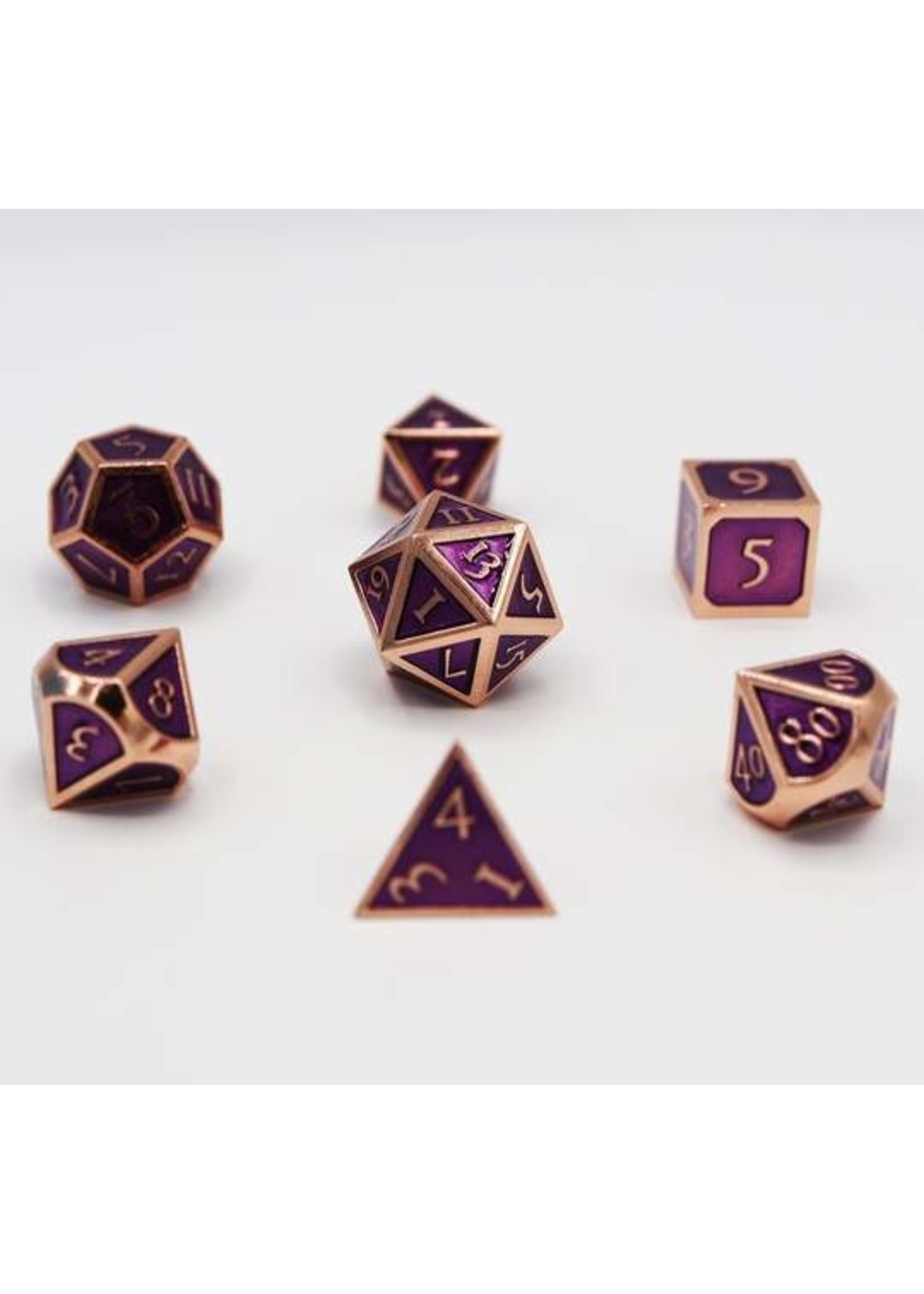 Copper with Amethyst Metal RPG Dice Set