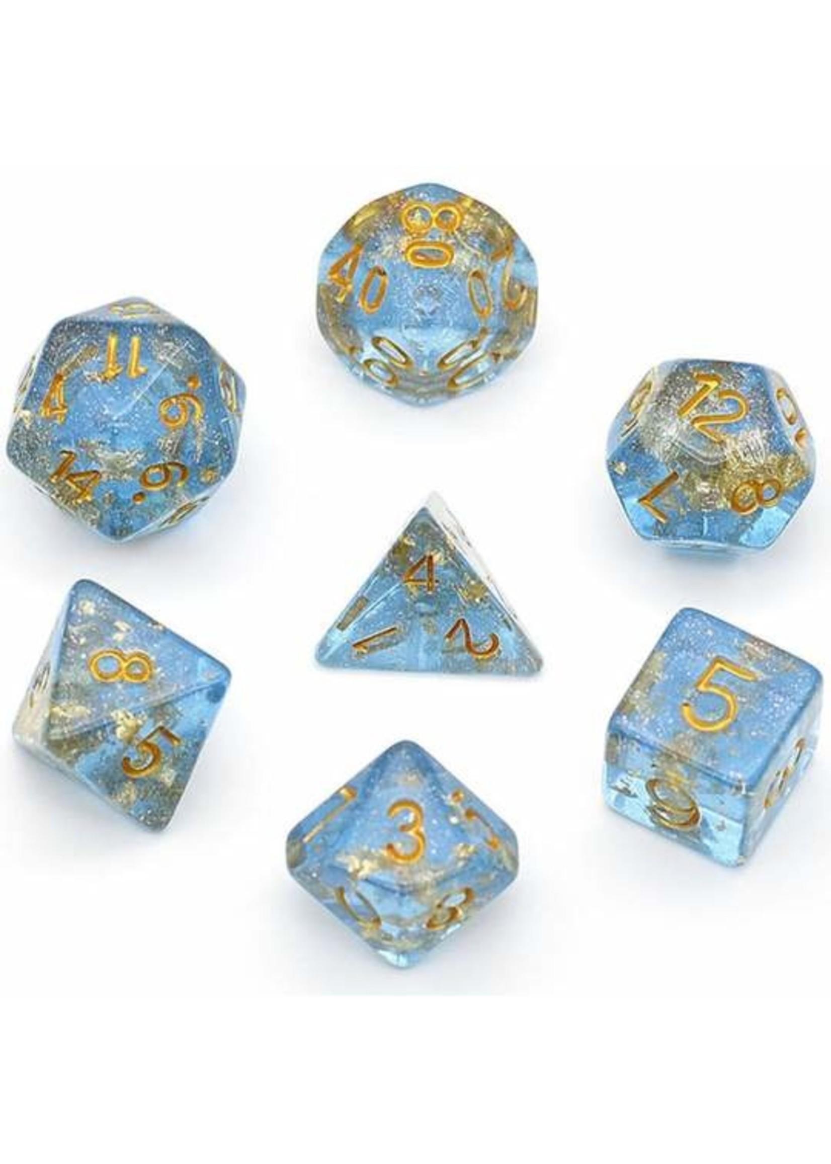 Blue with Gold Foil RPG Dice Set
