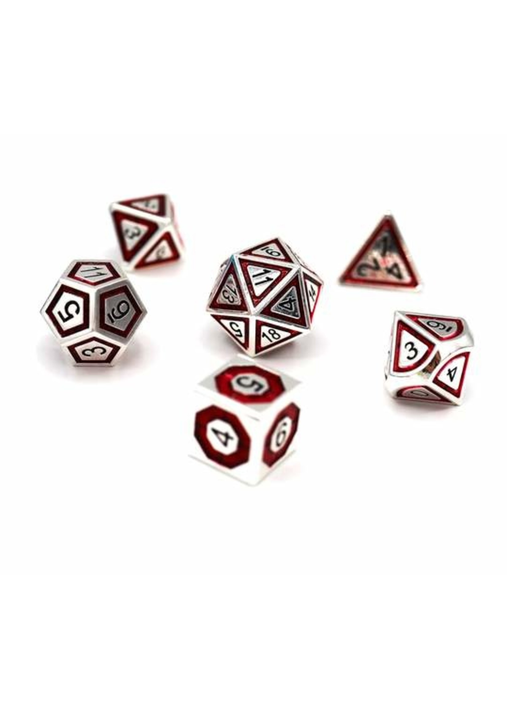 Silver and Crimson Compass Metal RPG Dice Set