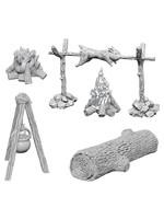 WizKids Deep Cuts Unpainted Miniatures: W10 Camp Fire & Sitting Log