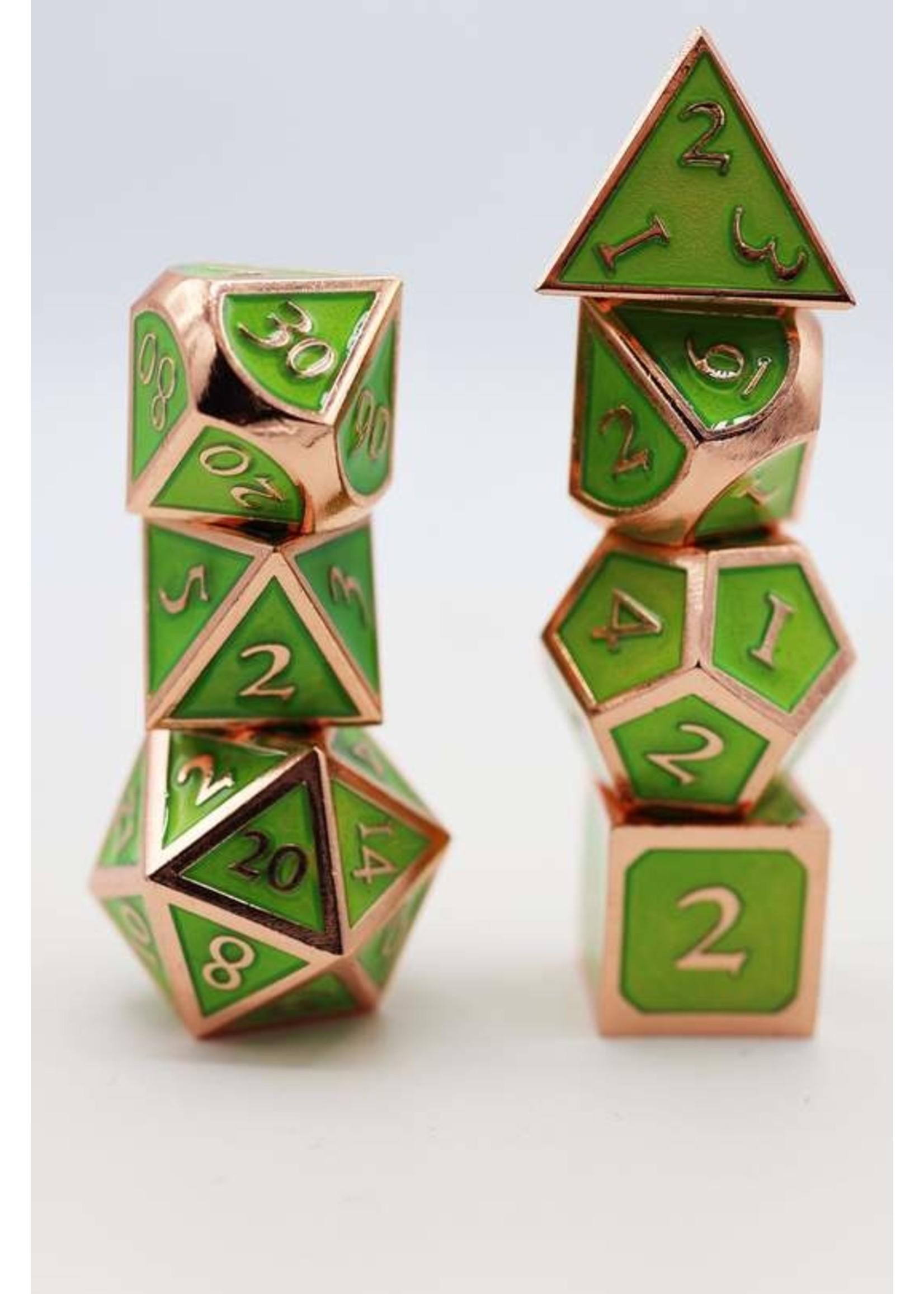 Copper with Jade Metal RPG Dice Set