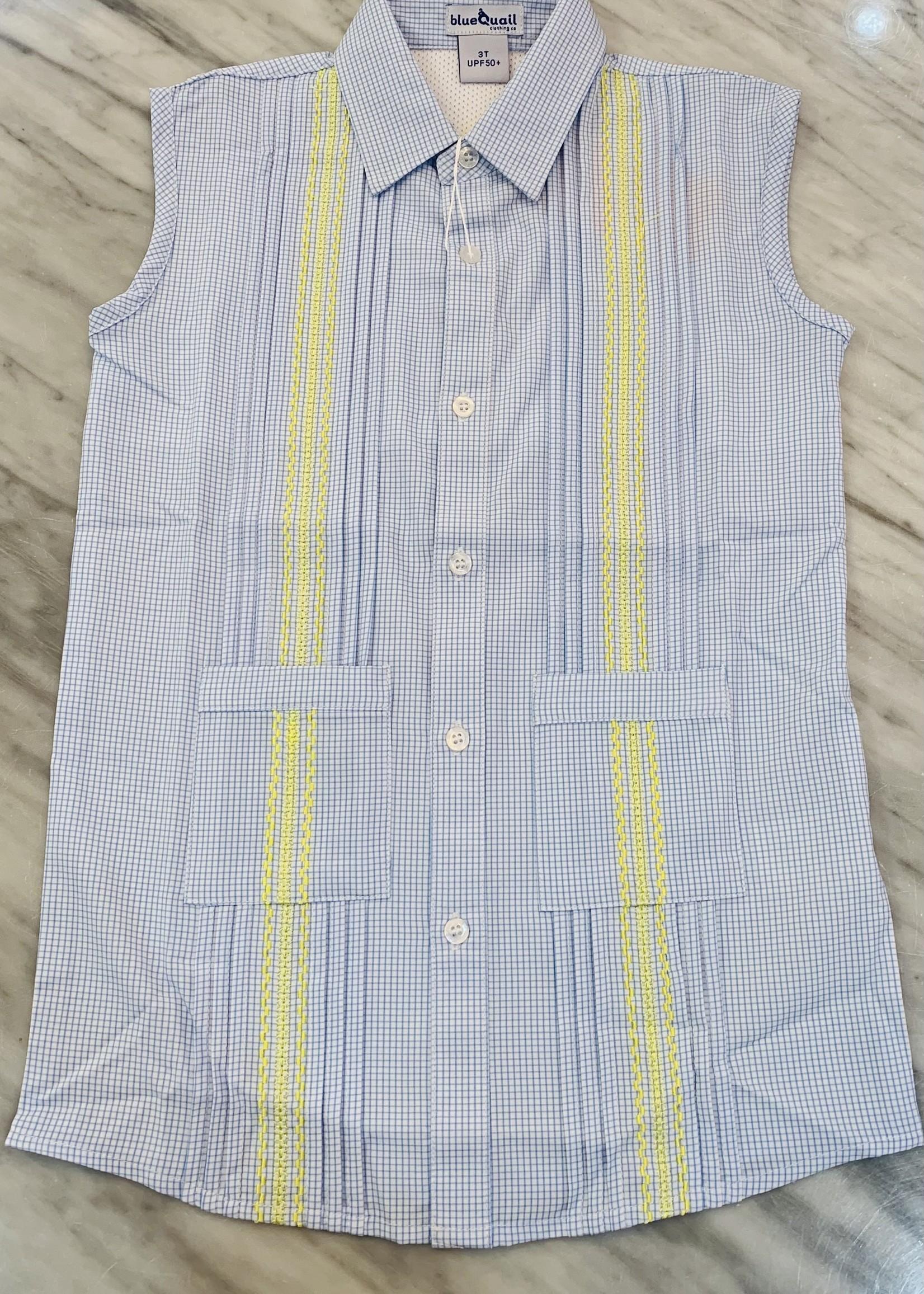 GUAYABERA DRESS - LT BL/YL