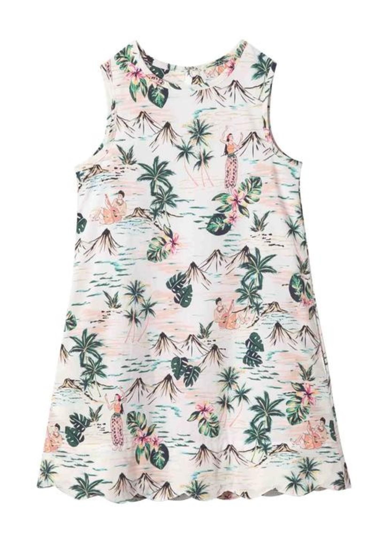 HULA PRINT PIPER DRESS