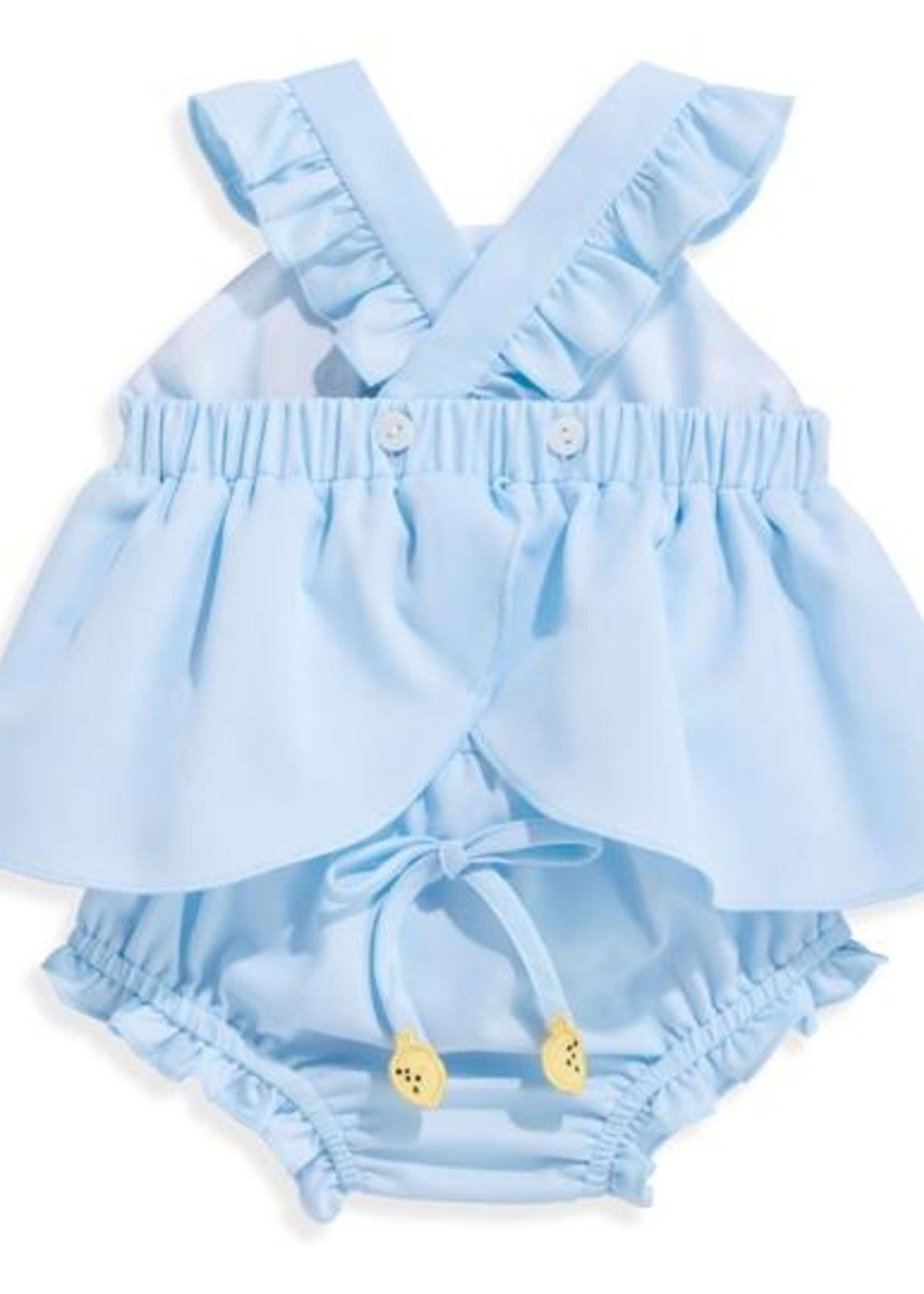 BLUE PIQUE SIBBY BLOOMER SET