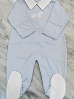 LIGHT BLUE PIQUE BUNNY FAM FOOTIE