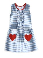 ROYAL/ WHITE STRIPE HEART POCKET PIMA DRESS