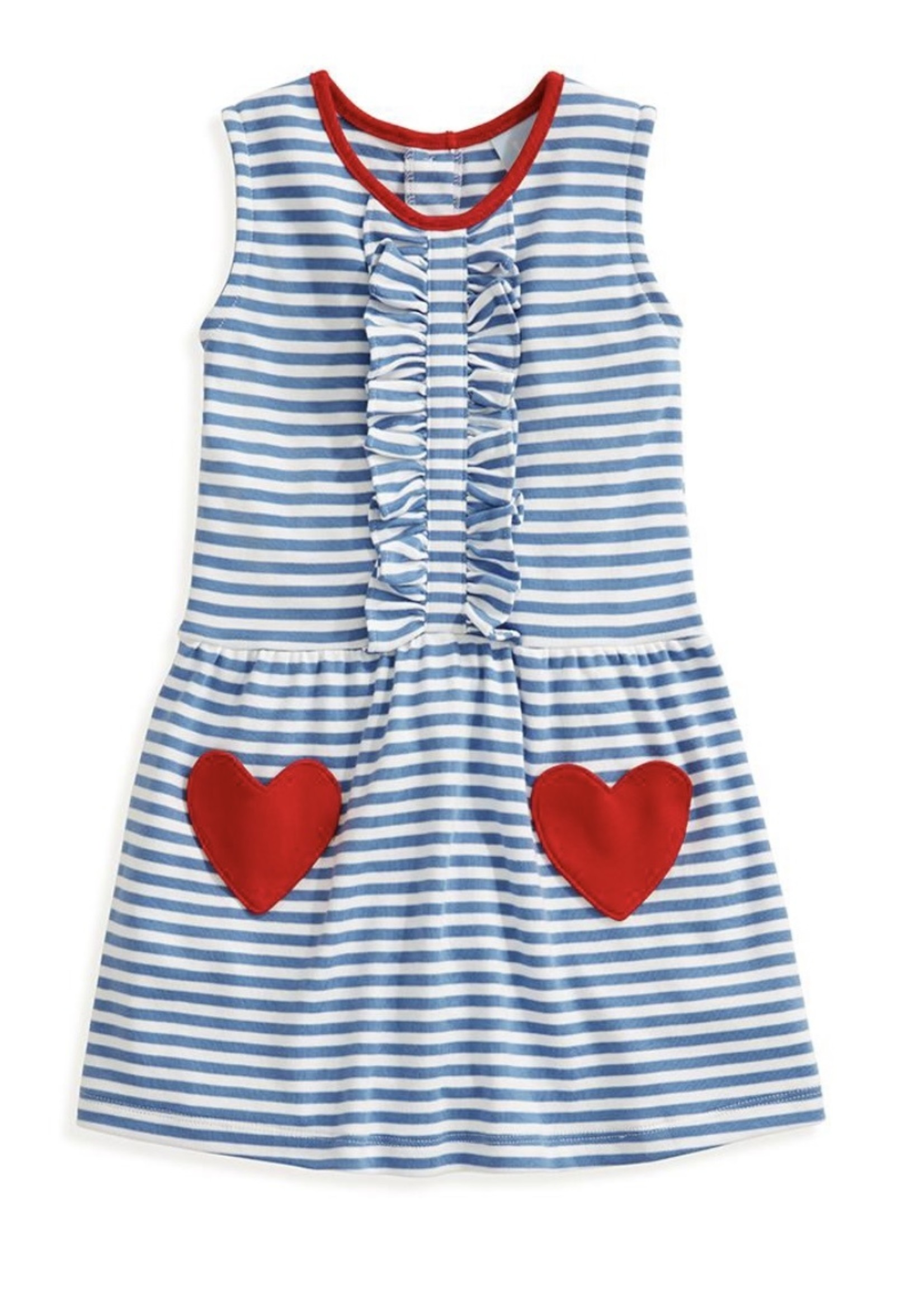 ROYAL/ WHITE STRIPE HEART POCKET PIMA DRESS