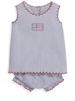 EMBROIDERED NAVY SEER SWING SET