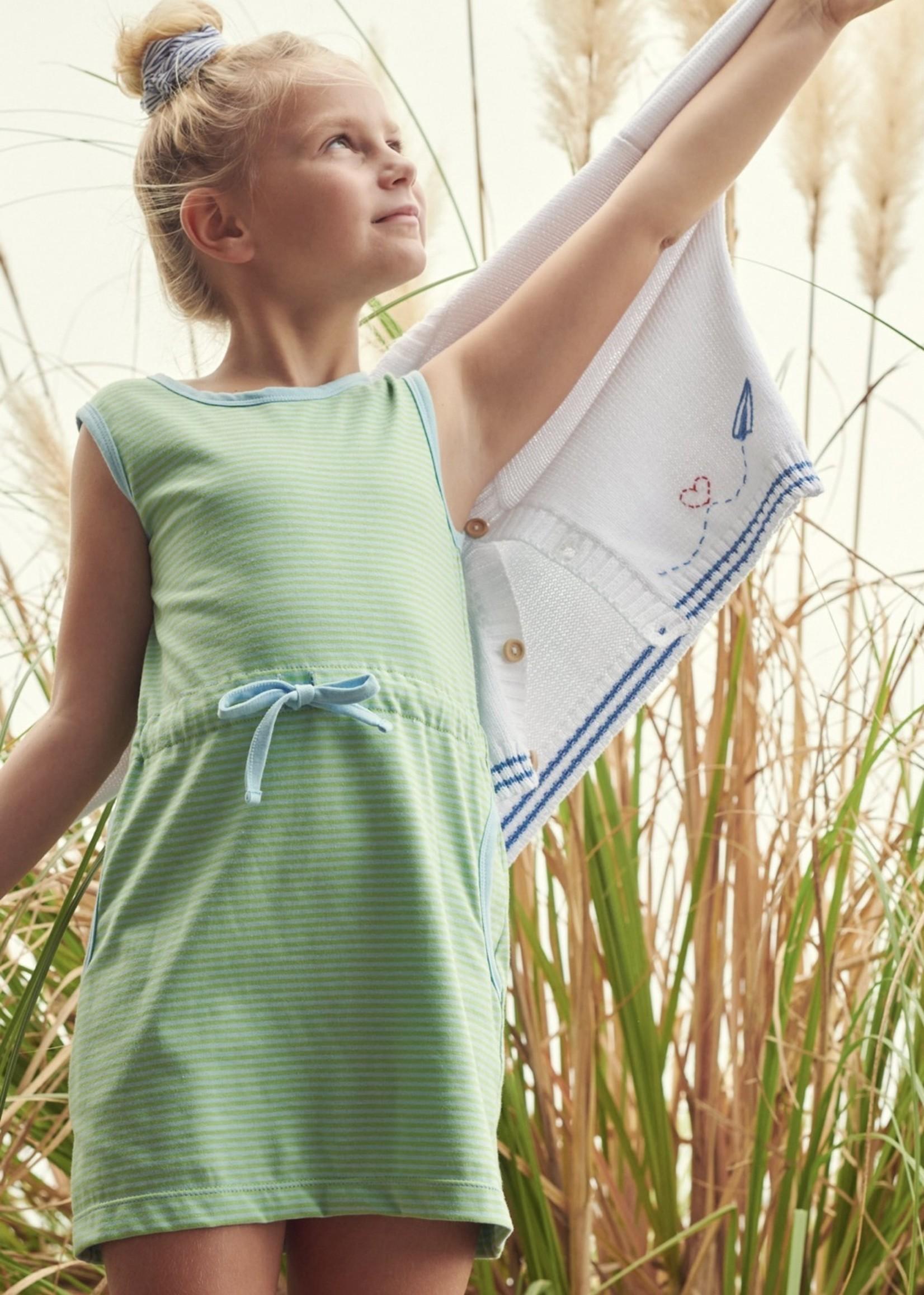 BLUE GREEN STRIPE CINCHED WAIST DRESS