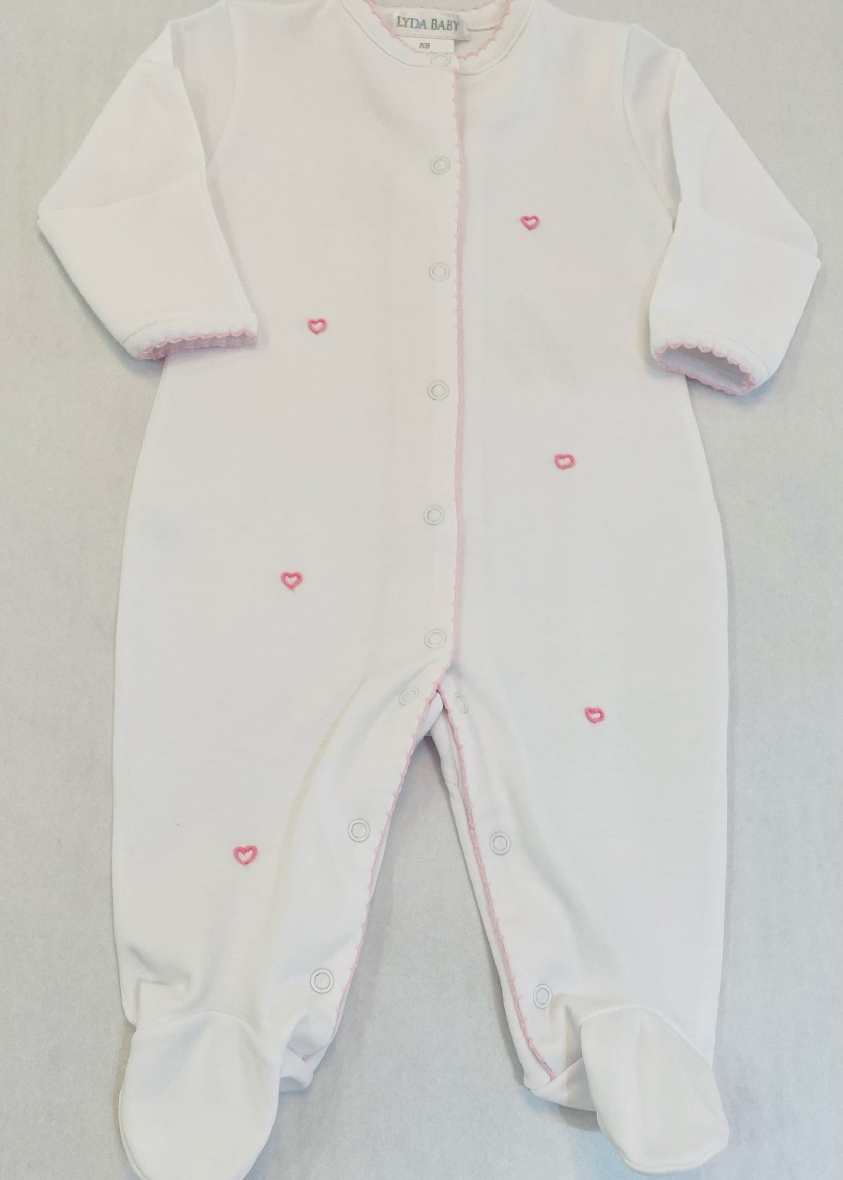 WHITE EMBROIDERED MINI HEARTS FOOTIE